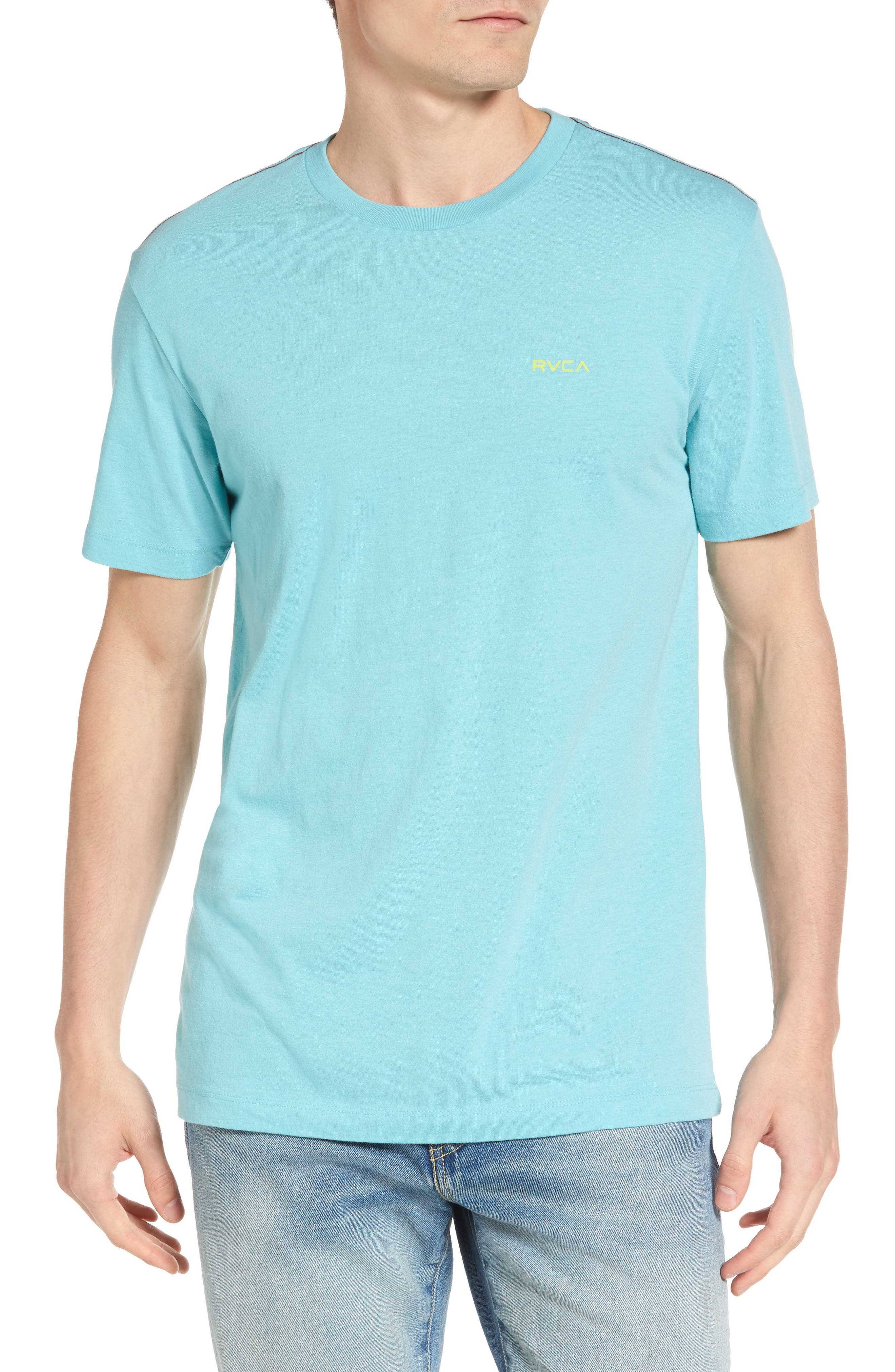 Small RVCA Chest Graphic T-Shirt,                         Main,                         color, Nile Blue
