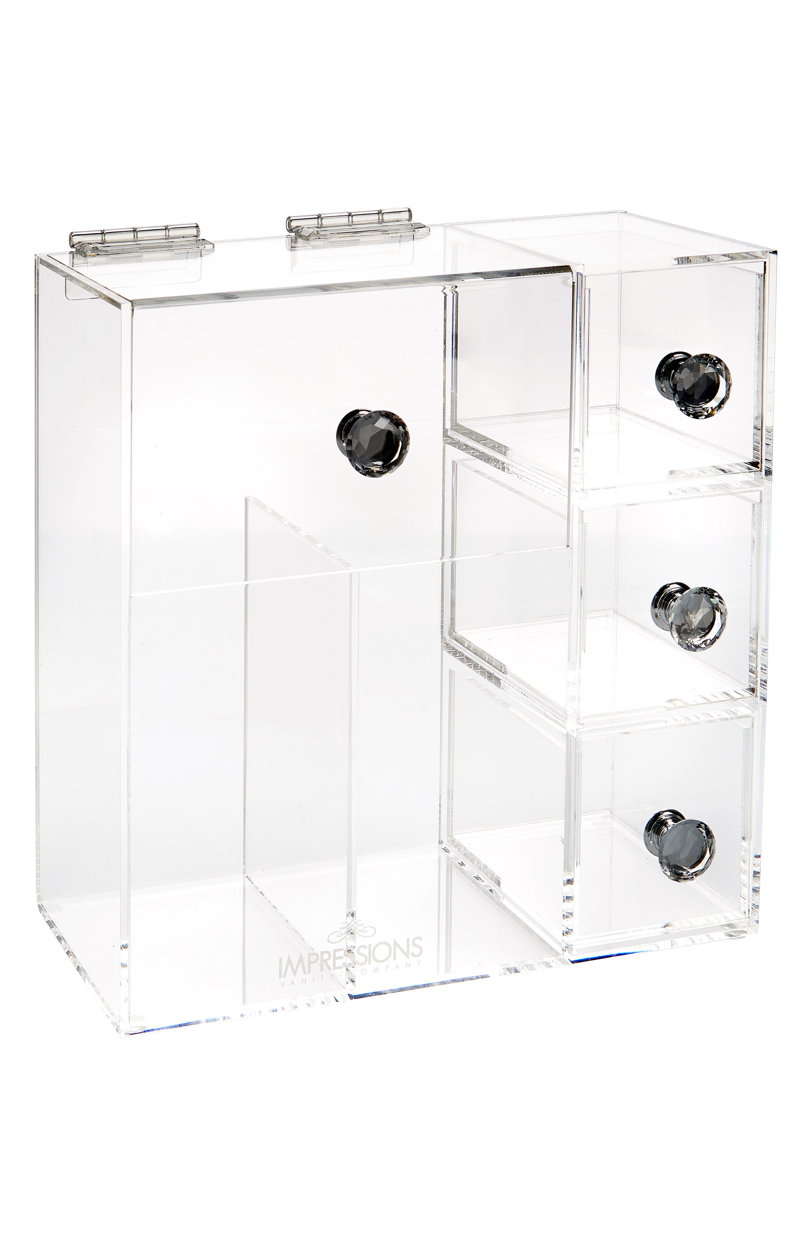 Diamond Collection Brush Holder with Drawers,                         Main,                         color, Clear