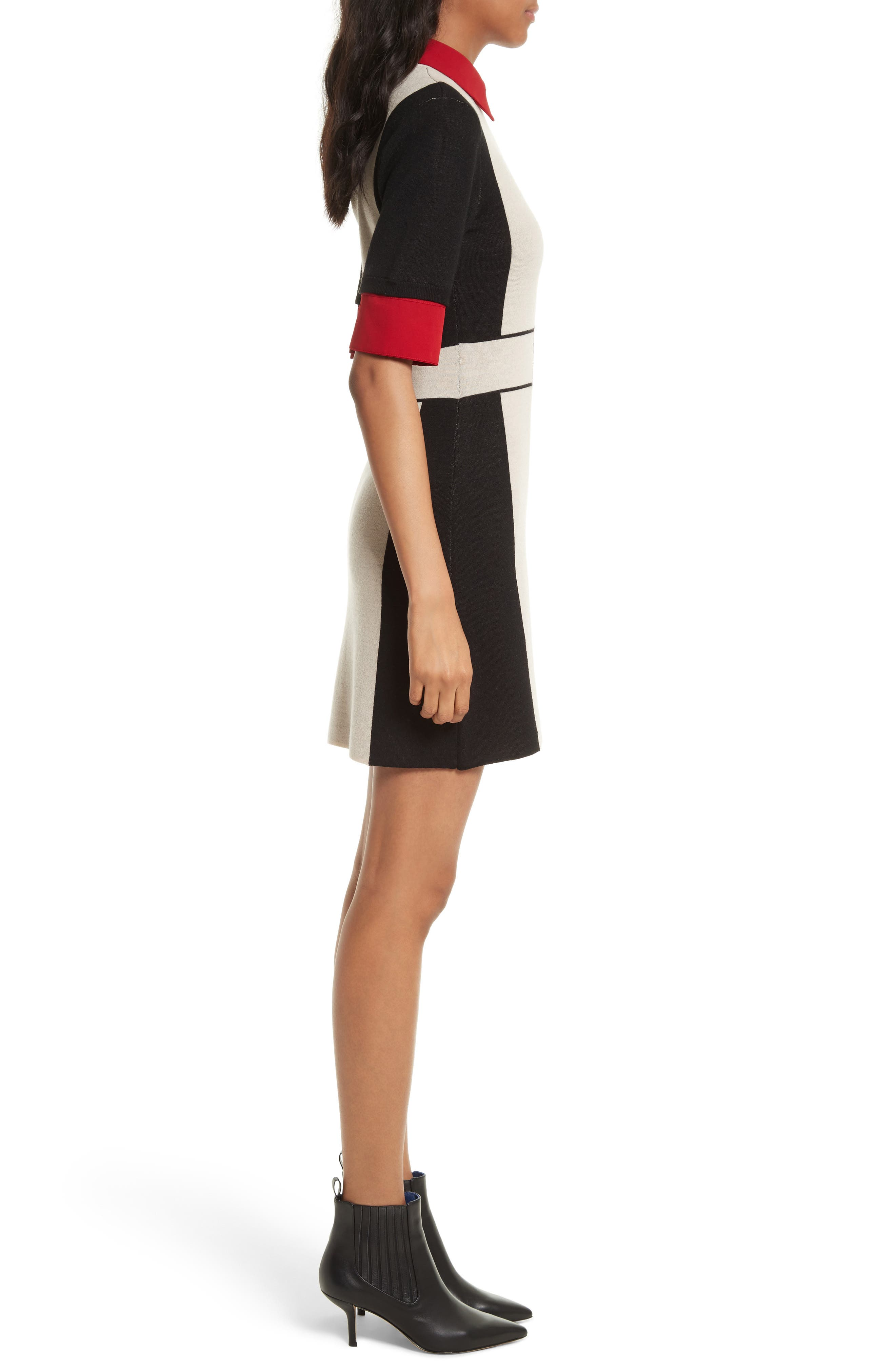 Mia Contrast Trim Sweater Dress,                             Alternate thumbnail 3, color,                             Black/ Natural/ Red