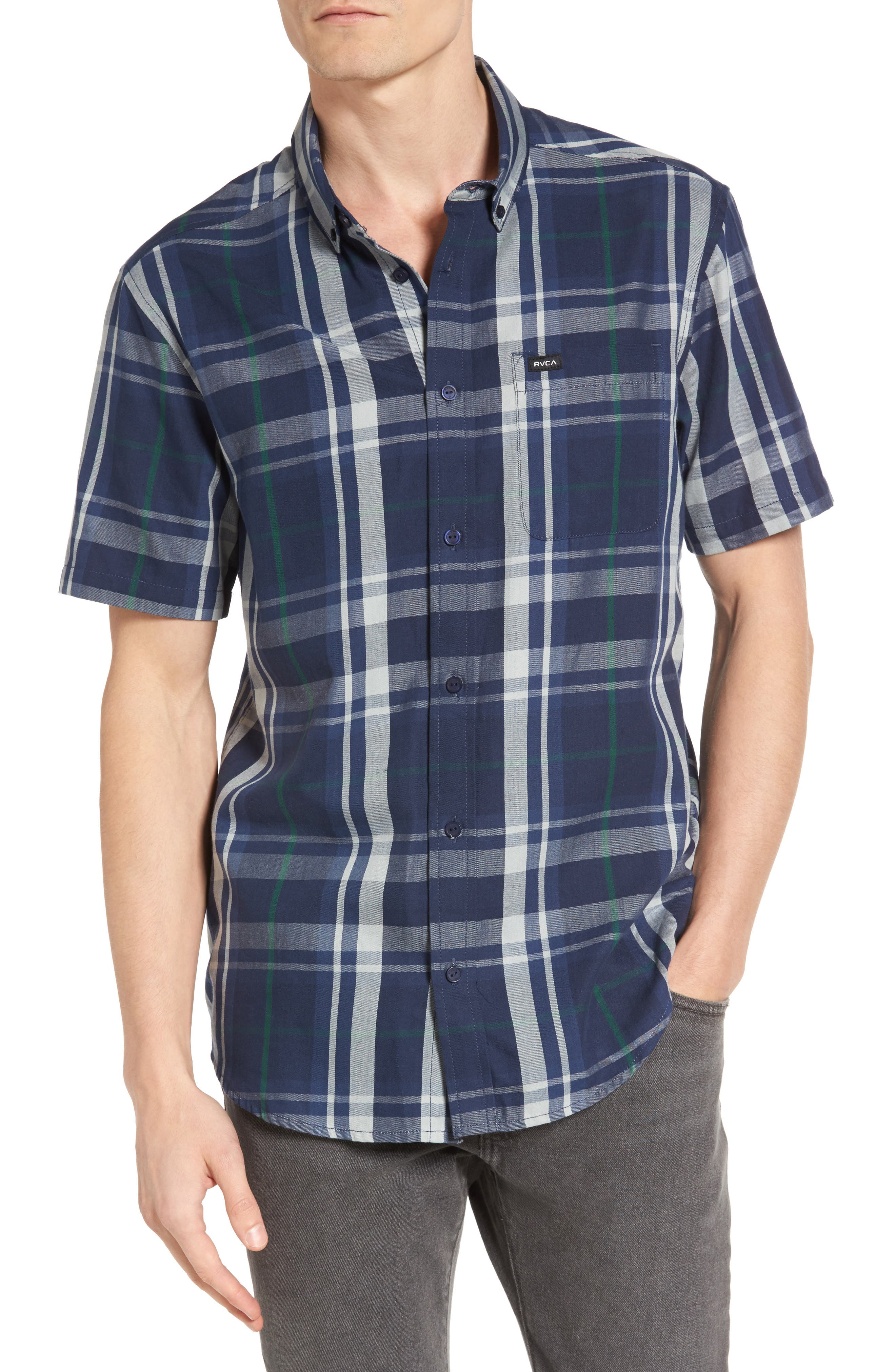 Alternate Image 1 Selected - RVCA Waas 2 Plaid Woven Shirt