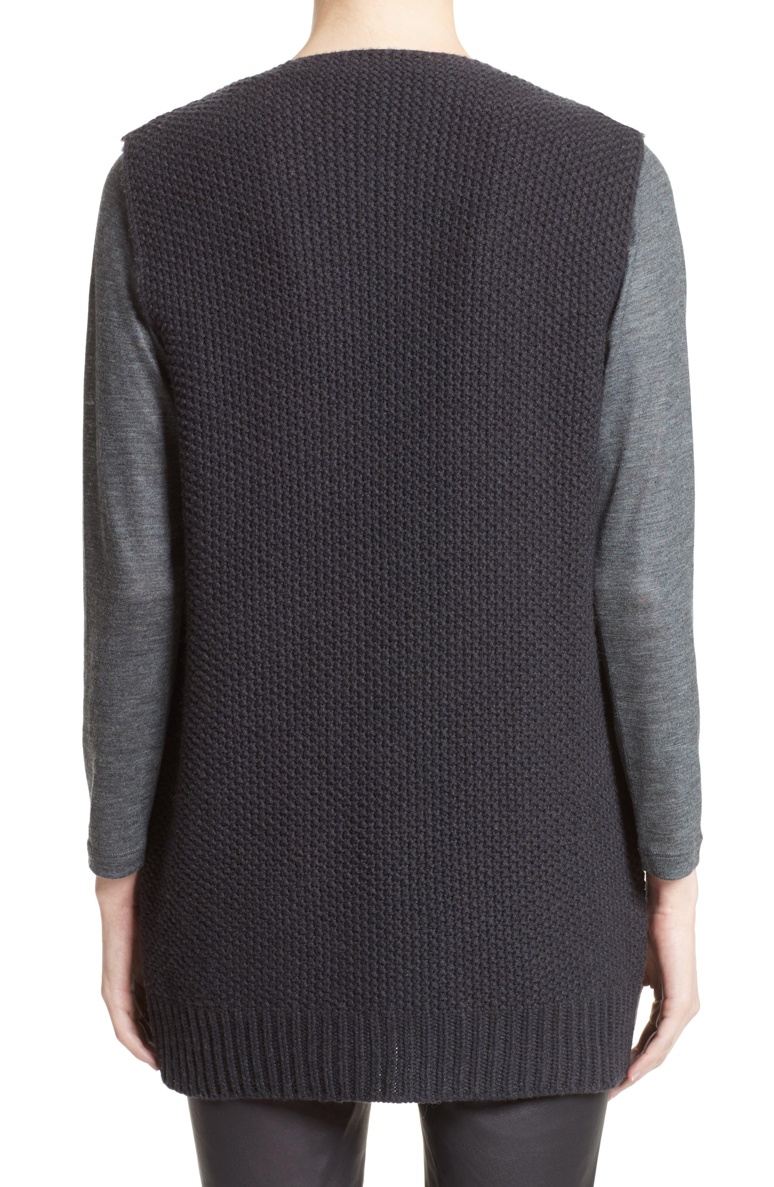 Alternate Image 2  - Fabiana Filippi Genuine Shearling Front Knit Vest