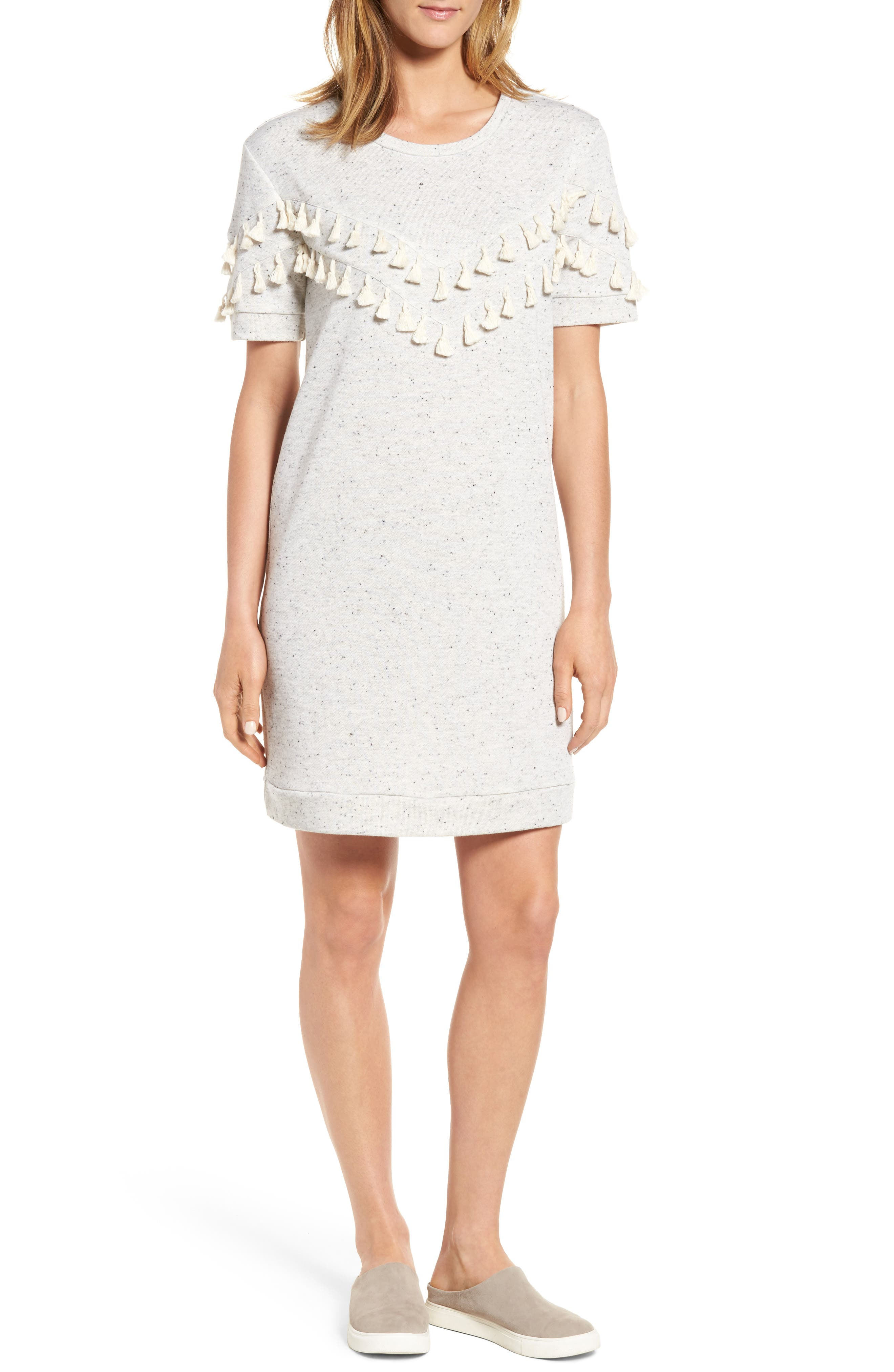 Caslon® Tassel Trim Fleece Knit Dress