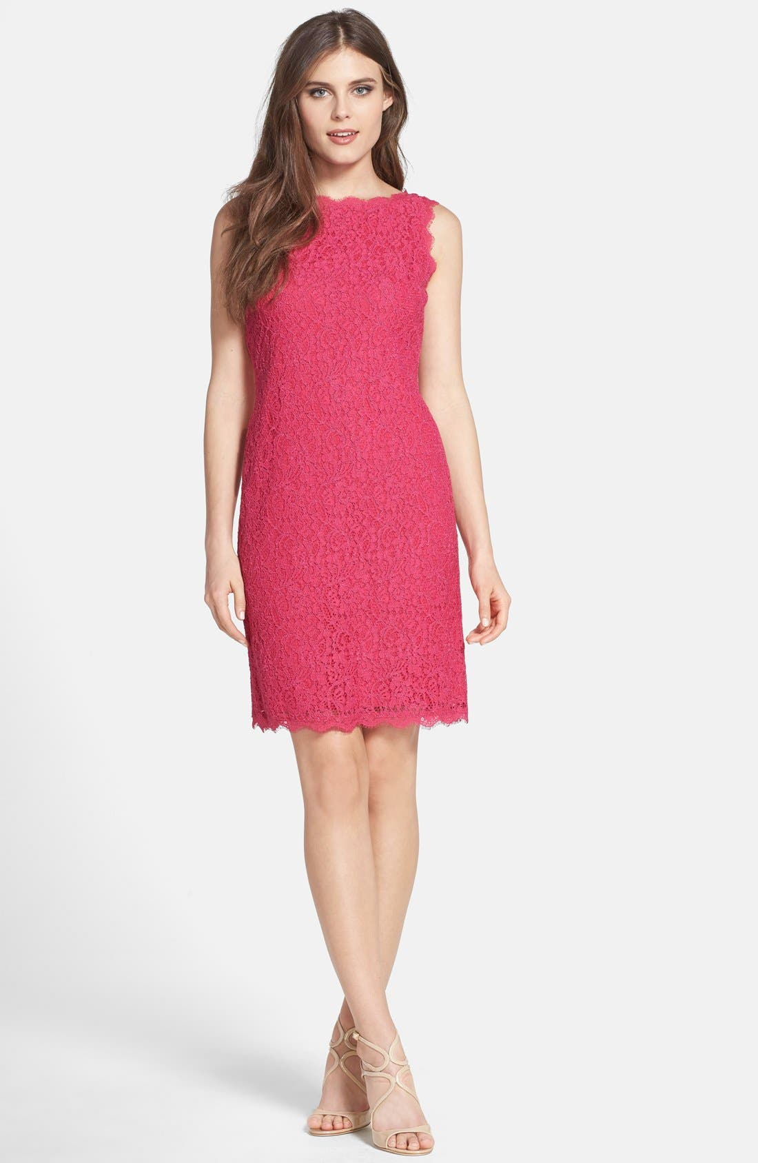 Boatneck Lace Sheath Dress,                             Alternate thumbnail 3, color,                             Fuchsia