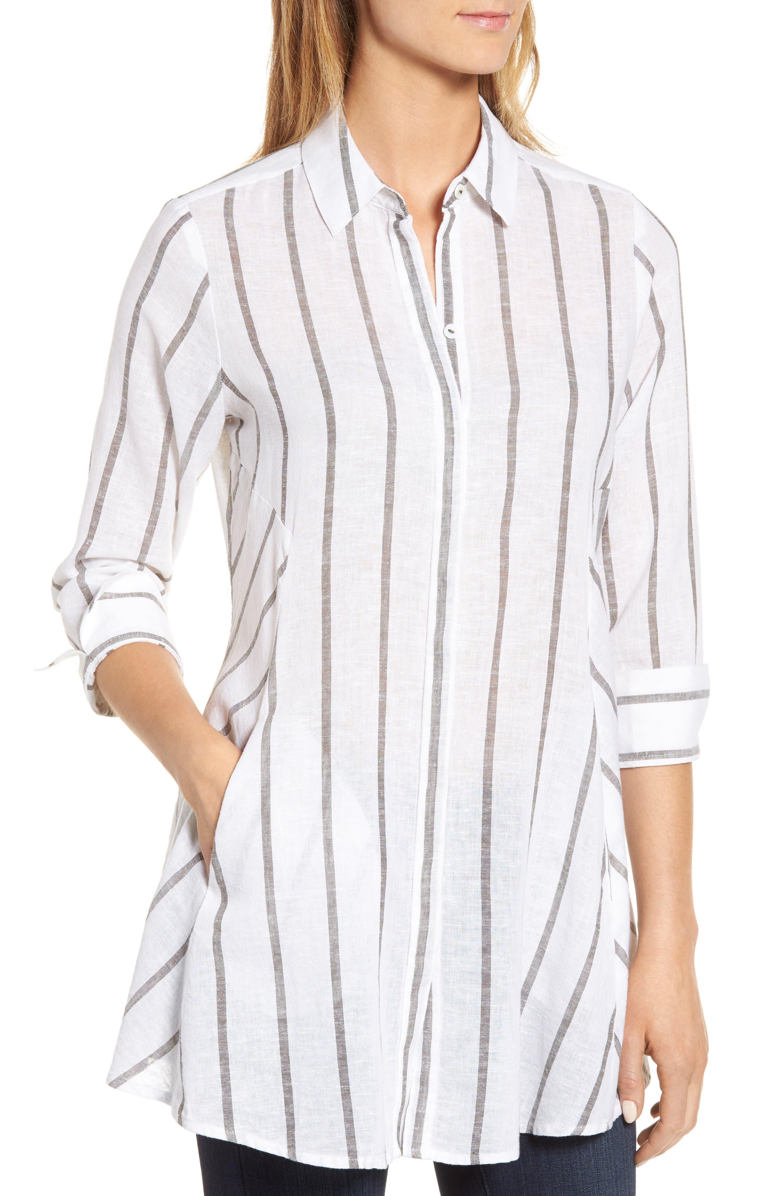 Stripe Tunic Shirt,                             Alternate thumbnail 4, color,                             White/ Olive