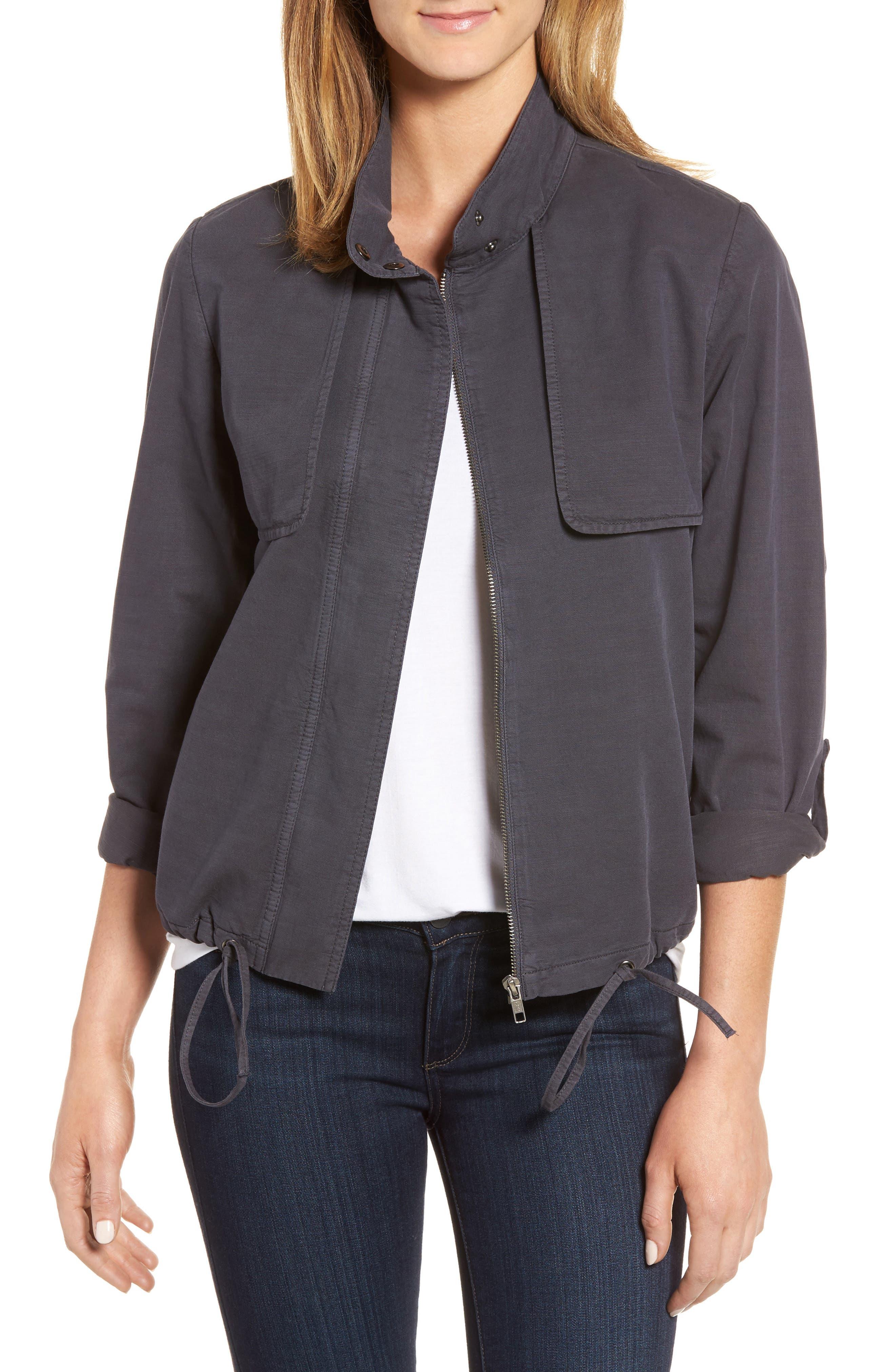 Caslon® Drawstring Hem Utility Jacket (Regular & Petite)