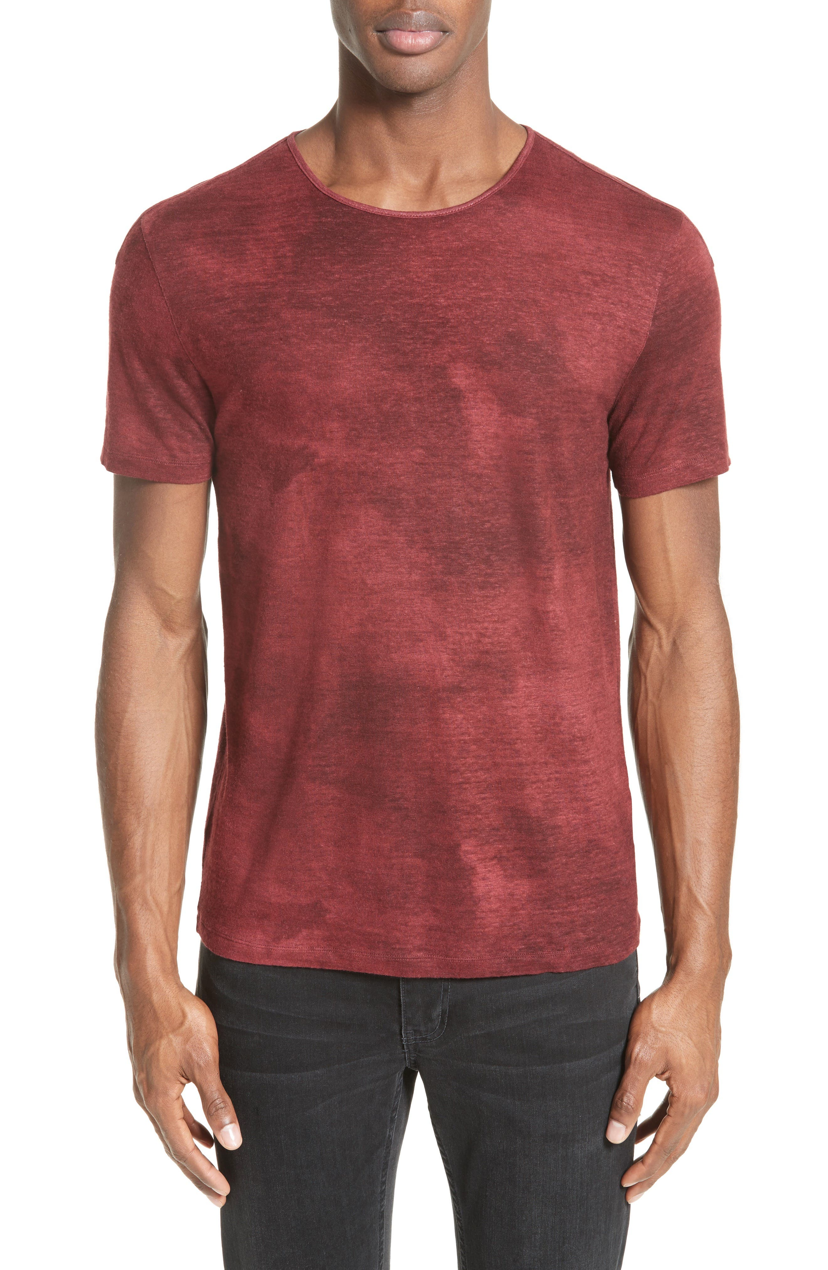 Linen Blend T-Shirt,                             Main thumbnail 1, color,                             Red Clay