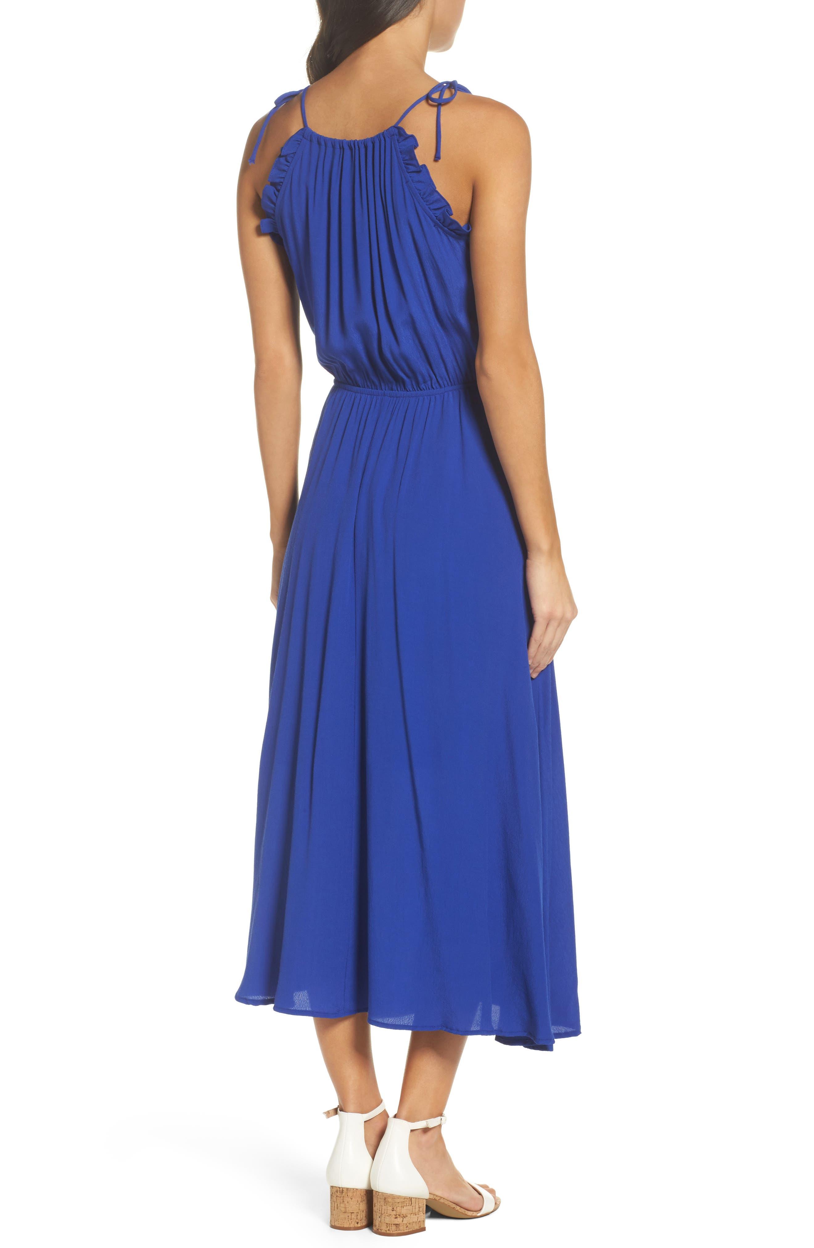 Halter Midi Dress,                             Alternate thumbnail 2, color,                             Blue