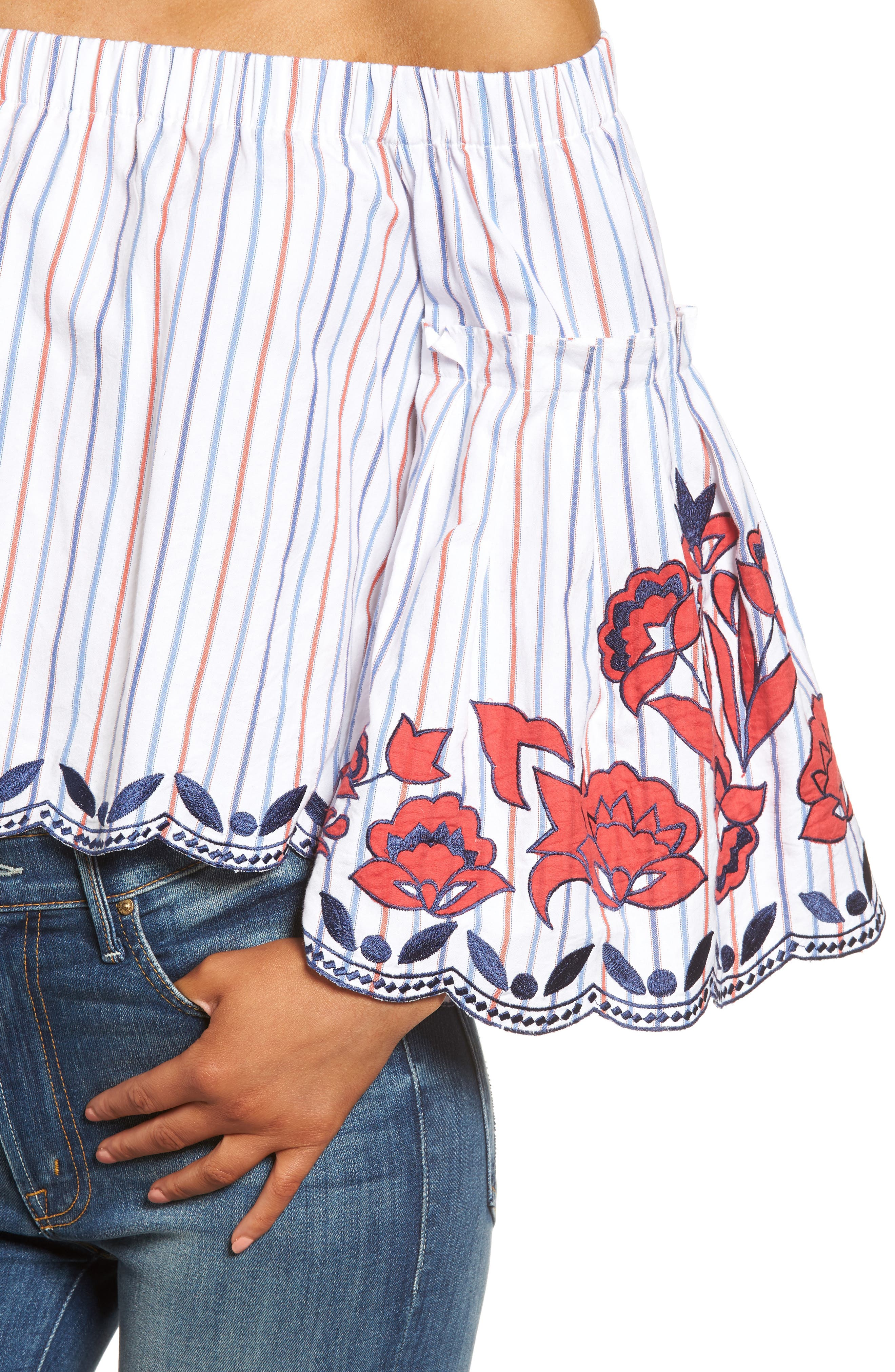 Dane Off the Shoulder Blouse,                             Alternate thumbnail 4, color,                             Pinstripe
