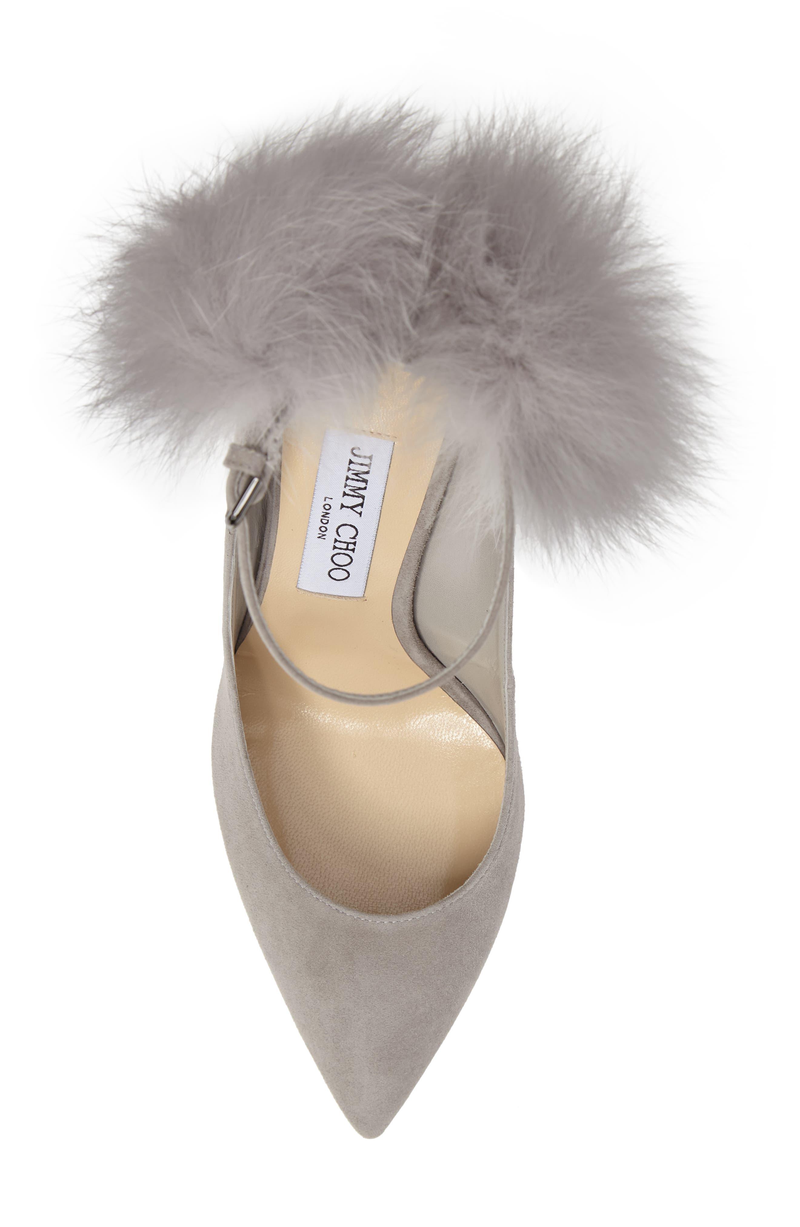 South Genuine Fox Fur Pompom Pump,                             Alternate thumbnail 5, color,                             Grey