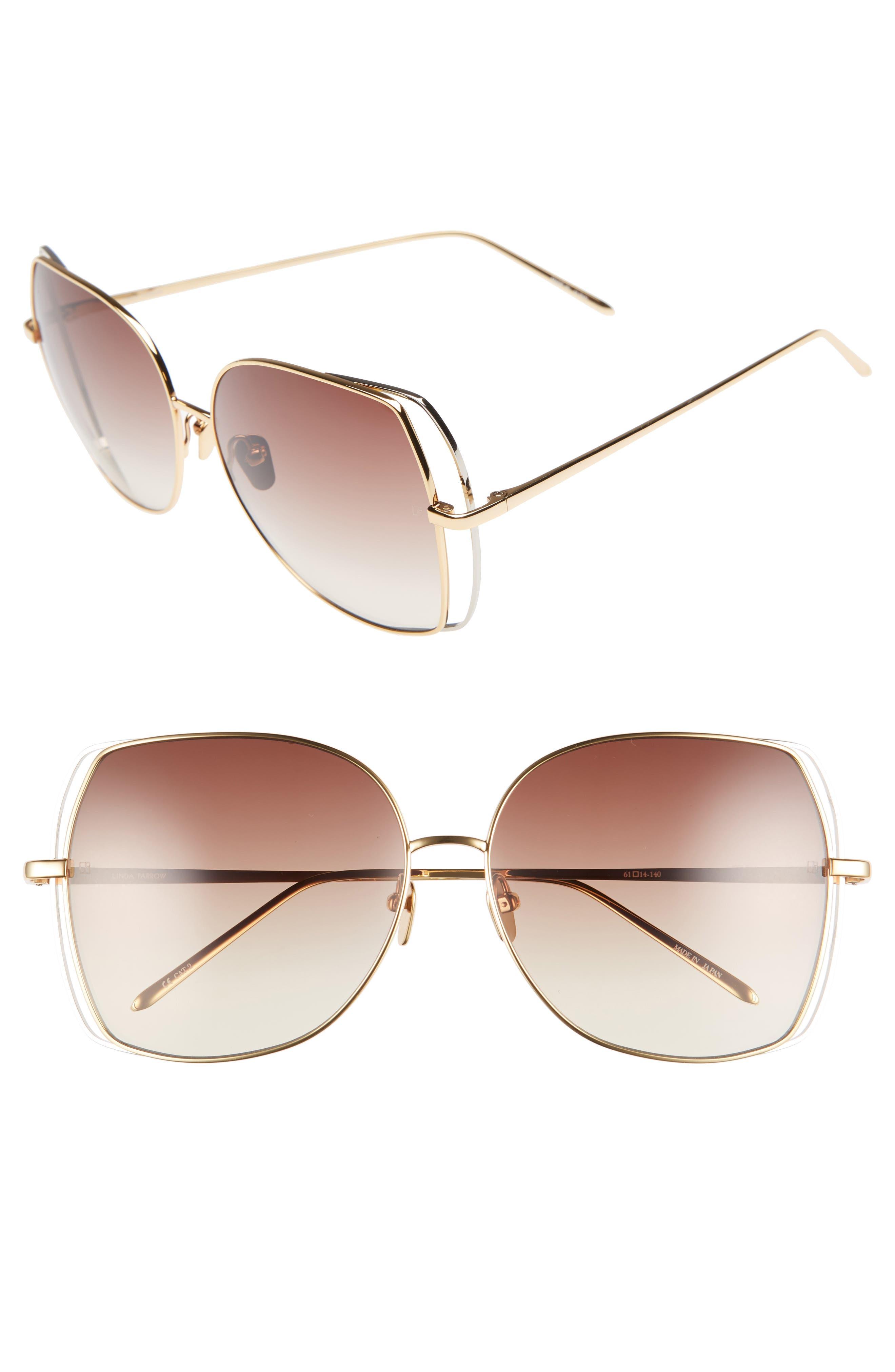 Main Image - Linda Farrow 61mm Gradient Lens 18 Karat Gold Sunglasses