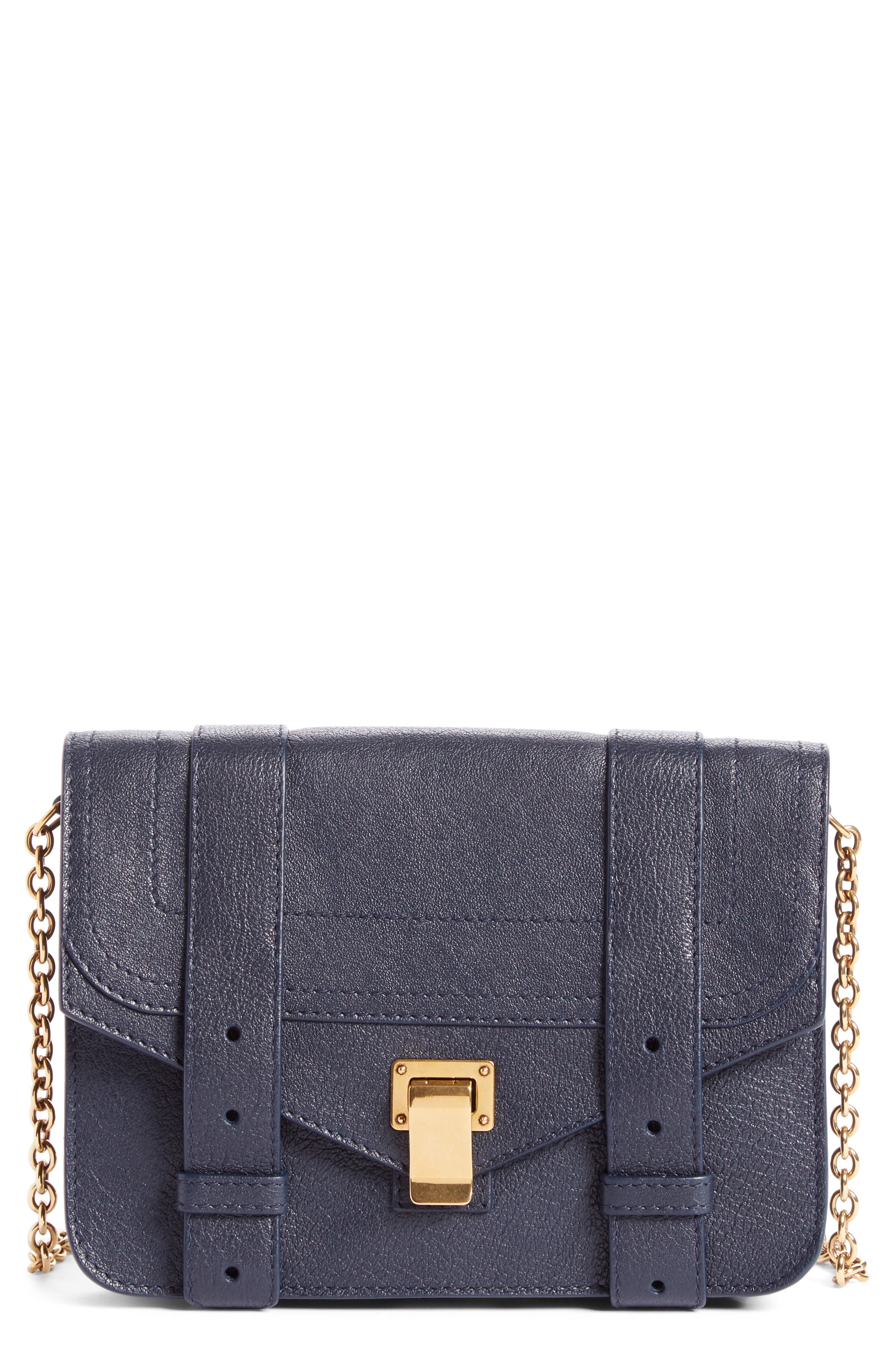 PS1 Lambskin Leather Chain Wallet,                         Main,                         color, Midnight