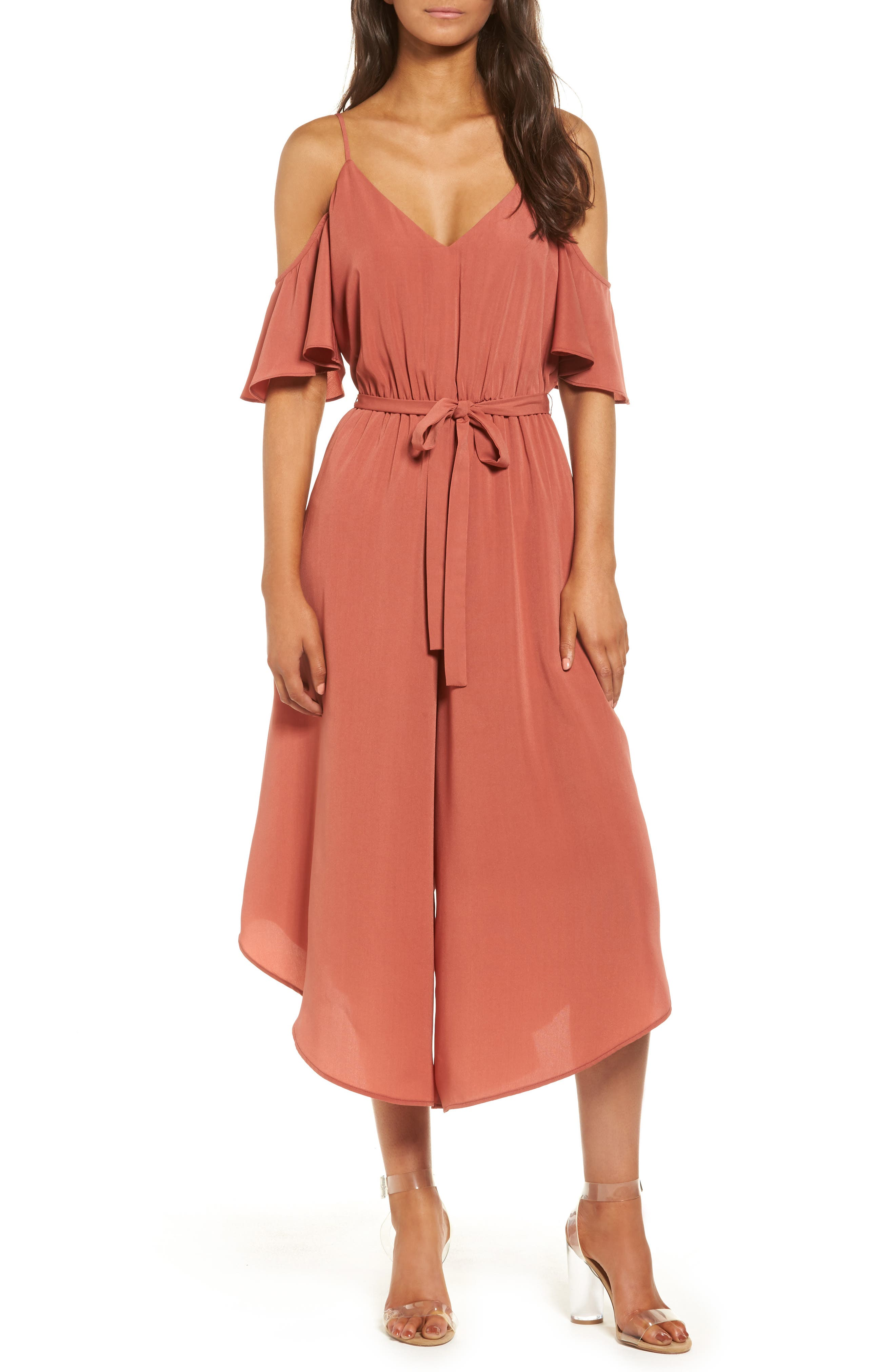 Cold Shoulder Jumpsuit,                         Main,                         color, Red Persimmon
