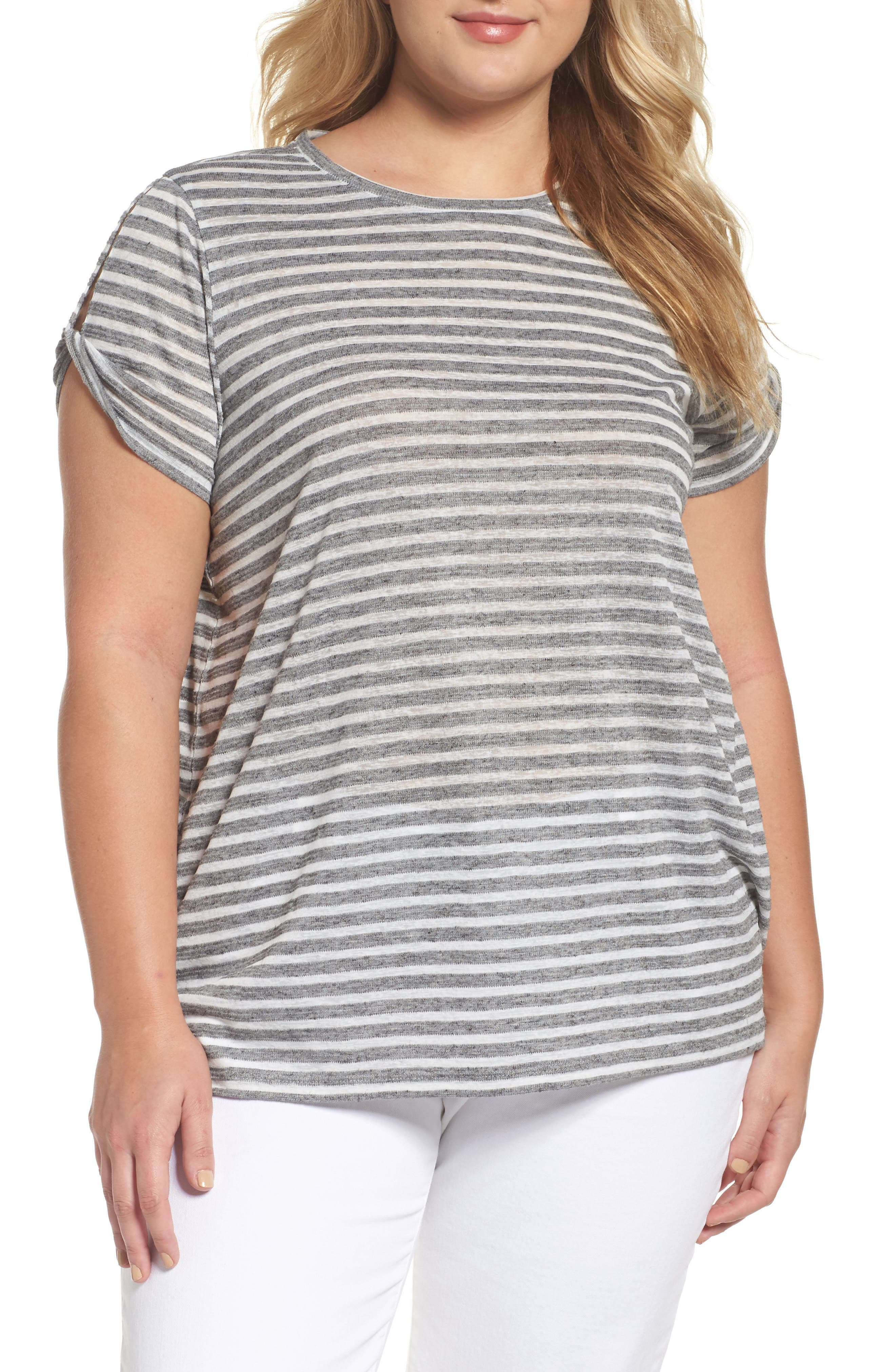 Two by Vince Camuto Stripe Twist Keyhole Sleeve Tee (Plus Size)