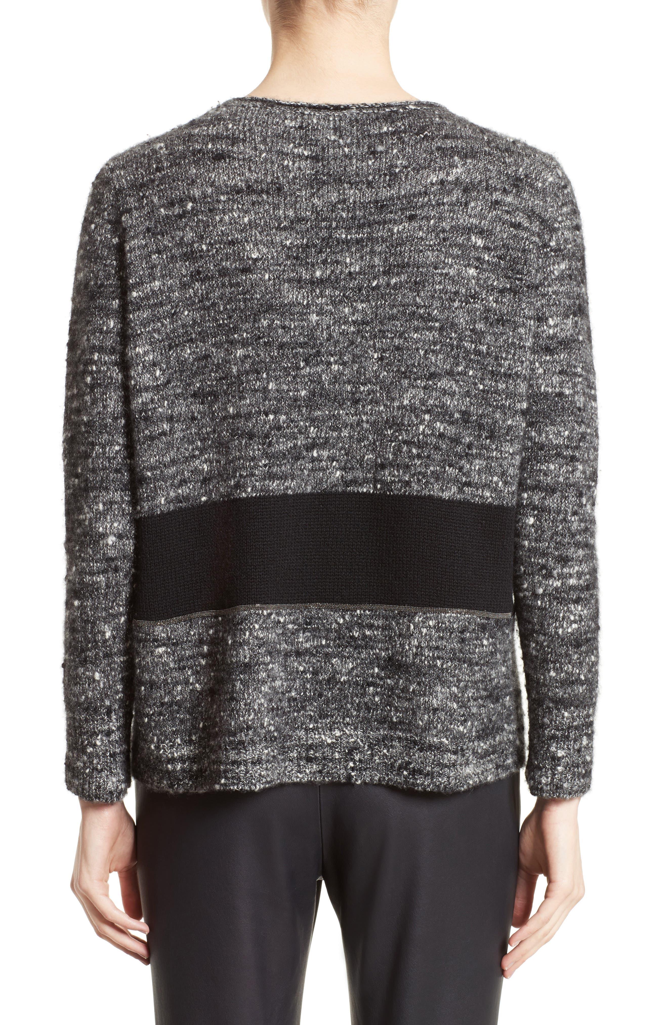 Alternate Image 2  - Fabiana Filippi Cashmere & Silk Blend Tweed Pullover