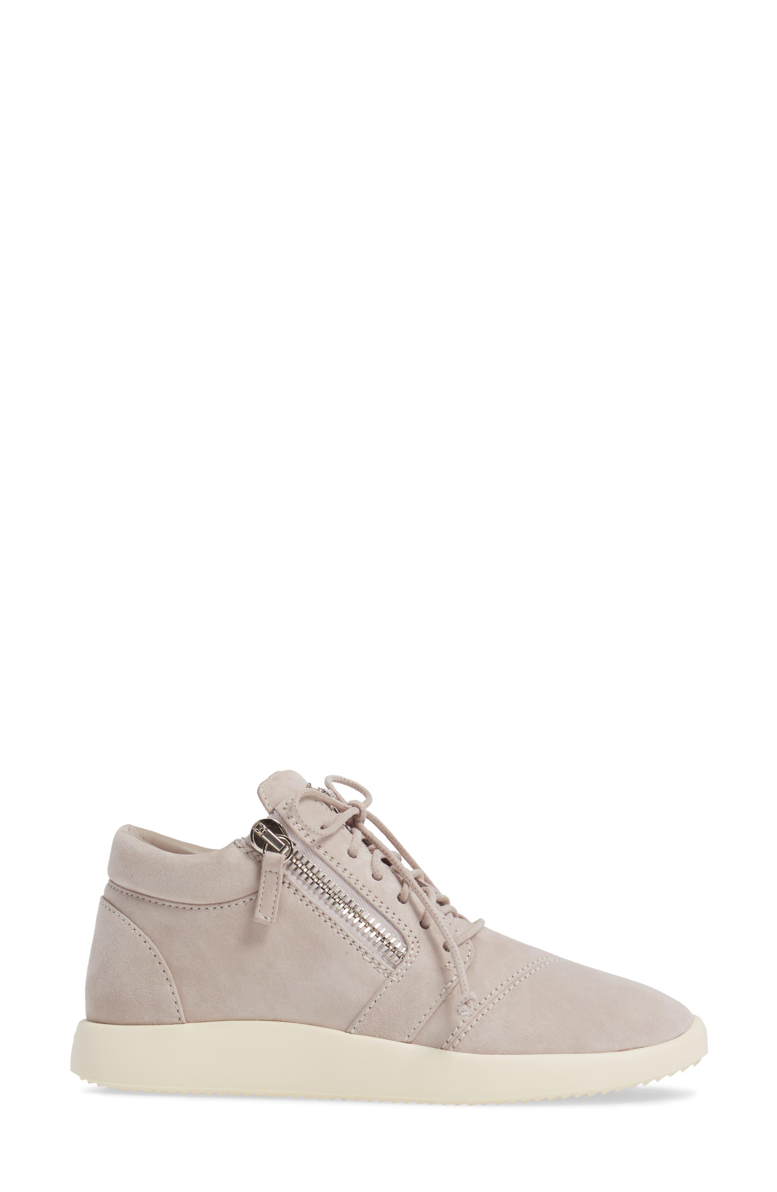 Zip Mid-Top Sneaker,                             Alternate thumbnail 3, color,                             Grey