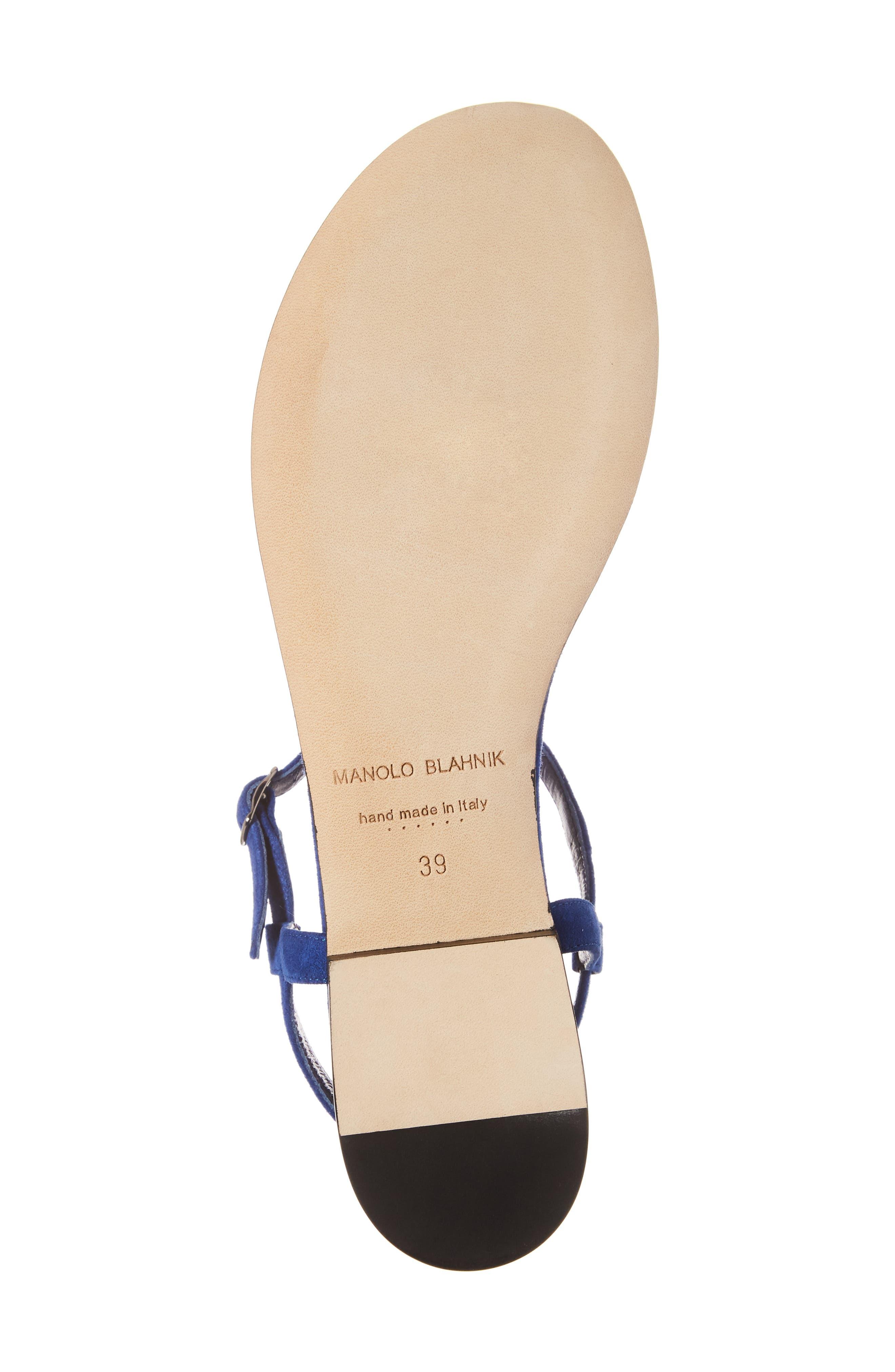 Ottolina T-Strap Sandal,                             Alternate thumbnail 6, color,                             Blue Suede