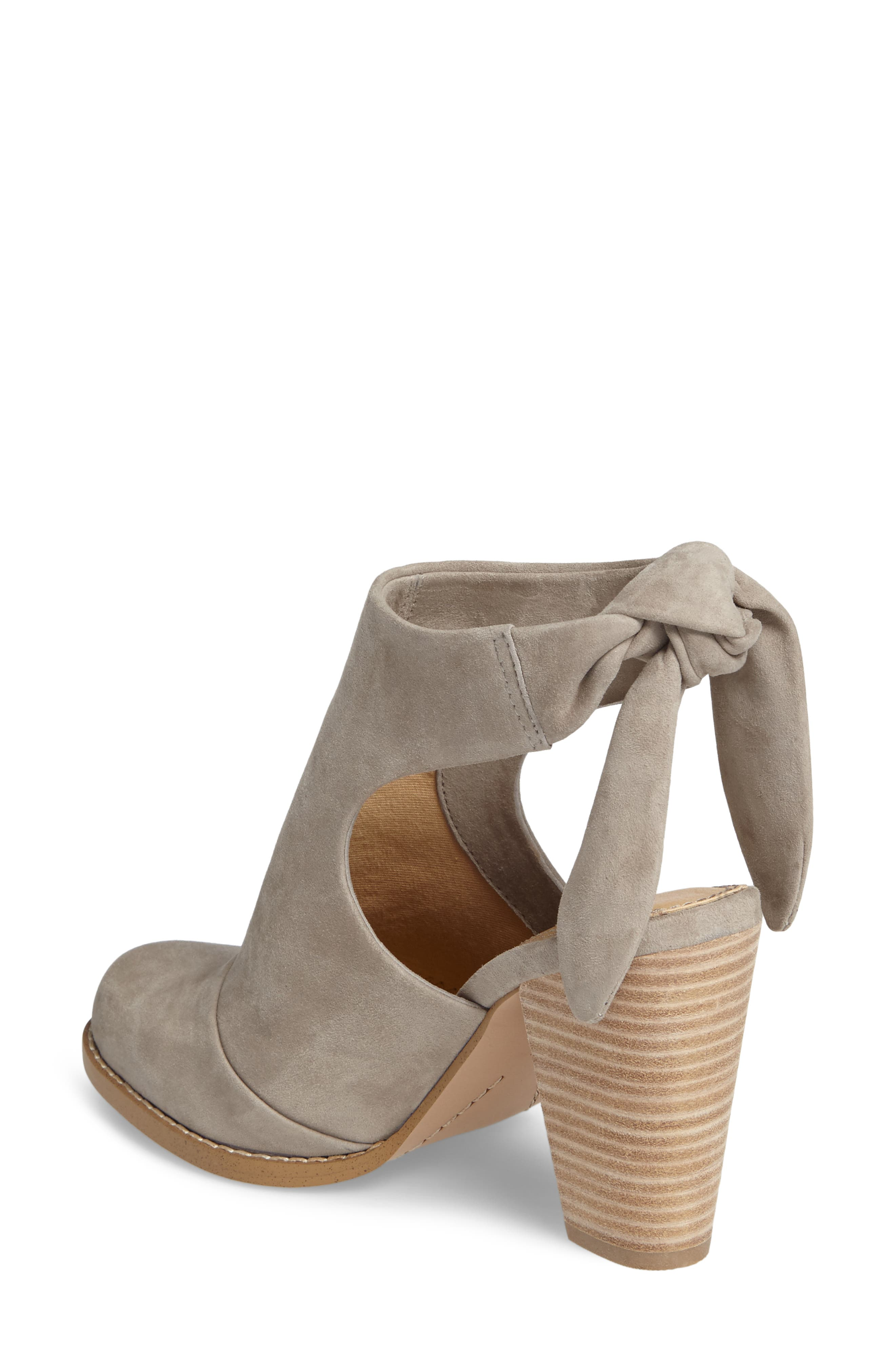 Danae Stacked Heel Bootie,                             Alternate thumbnail 3, color,                             Pearl Grey Suede