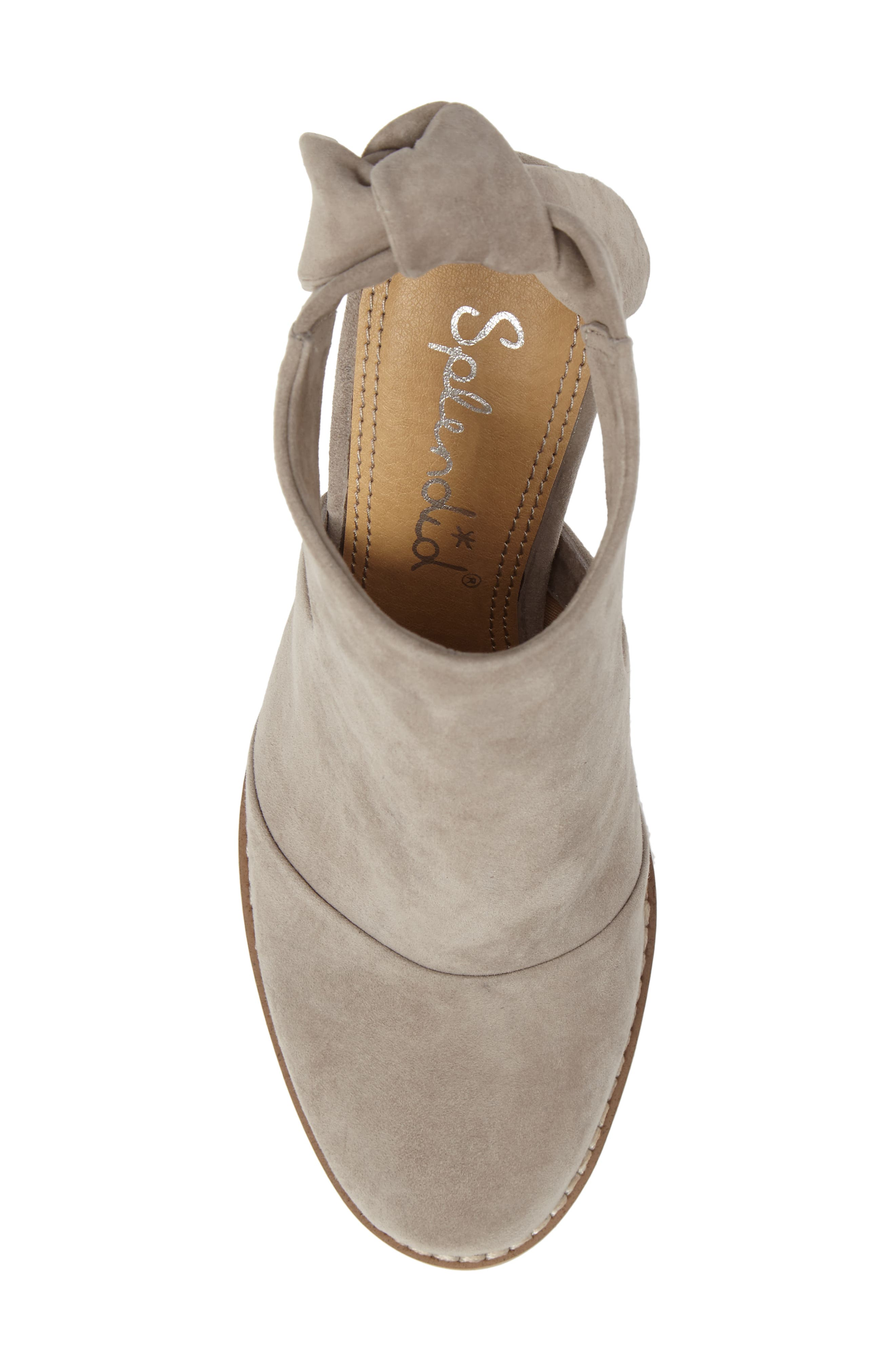 Danae Stacked Heel Bootie,                             Alternate thumbnail 6, color,                             Pearl Grey Suede