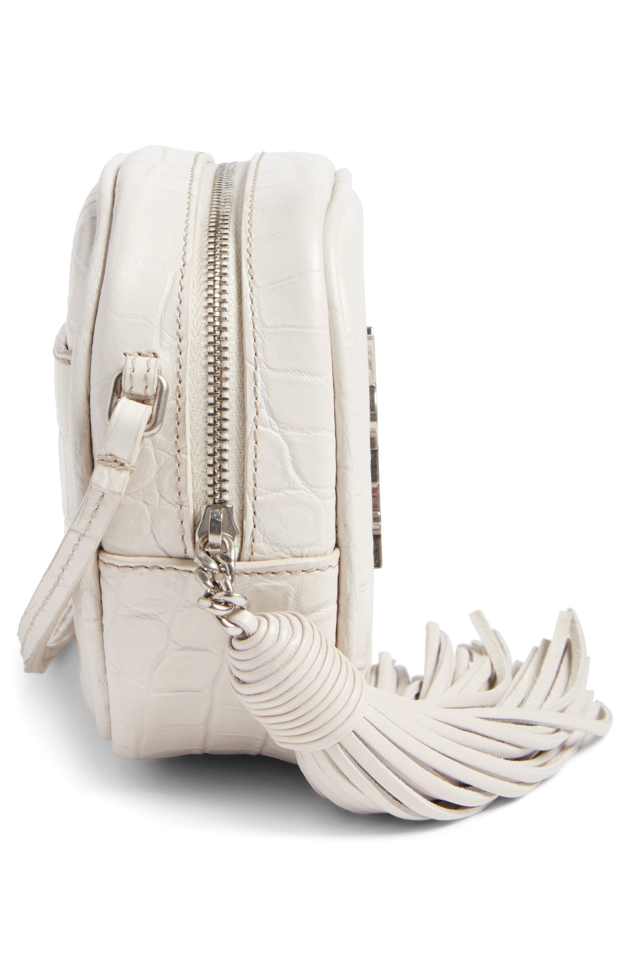 Monogram Blogger Leather Crossbody Bag,                             Alternate thumbnail 3, color,                             Icy White