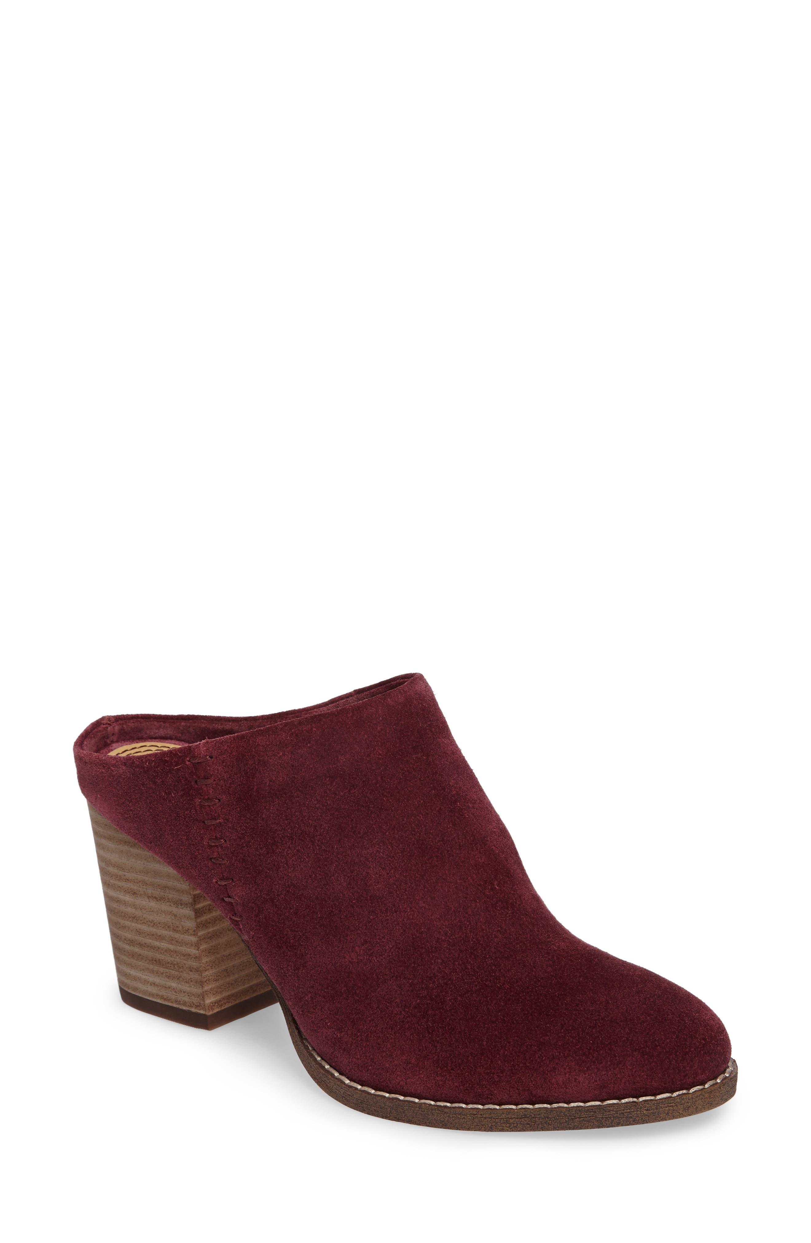 Debrah Block Heel Mule,                         Main,                         color, Whiskey Suede