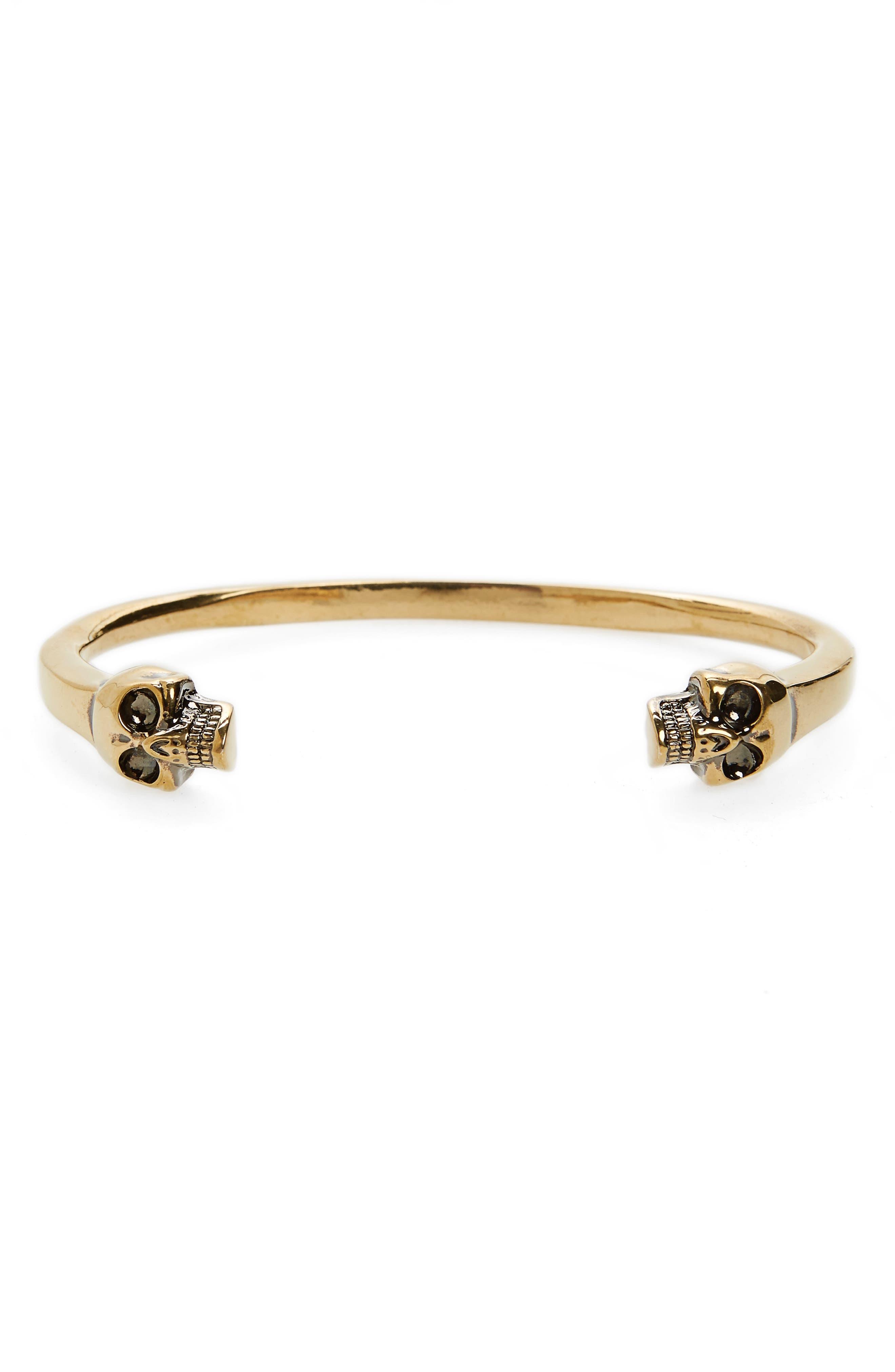Twin Skull Cuff Bracelet,                             Main thumbnail 1, color,                             Gold