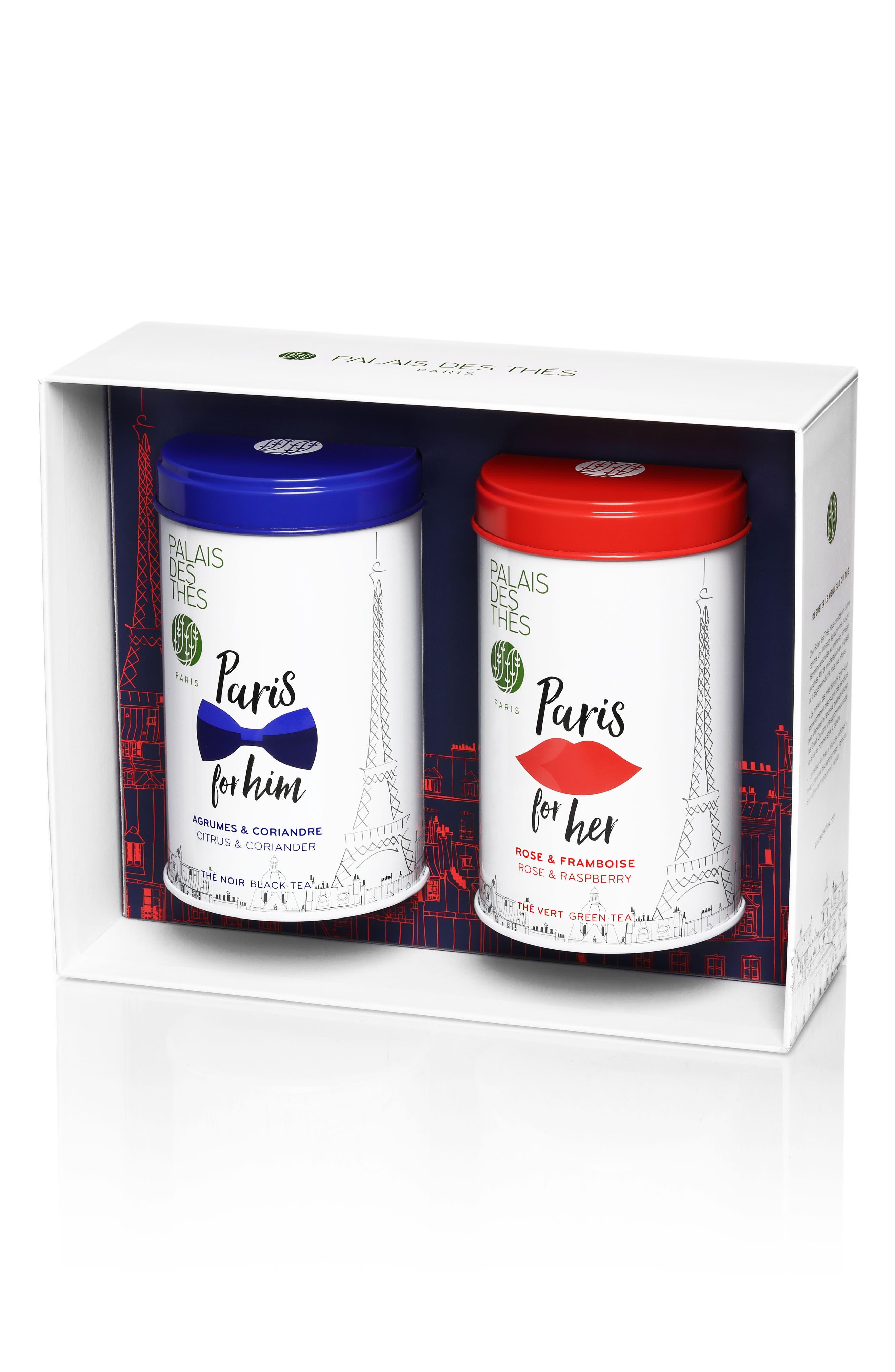 Paris for Him & Her Loose Tea Duo,                             Main thumbnail 1, color,                             White