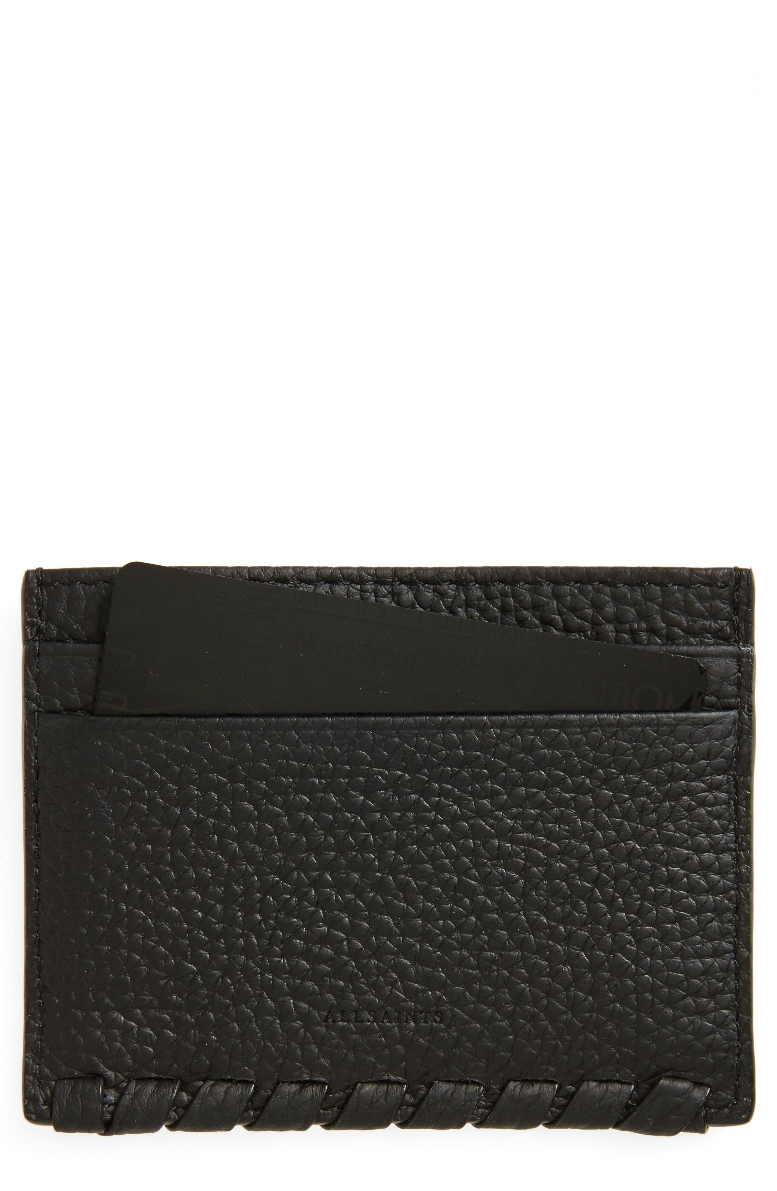 Kita Pebbled Leather Card Case,                         Main,                         color, Black