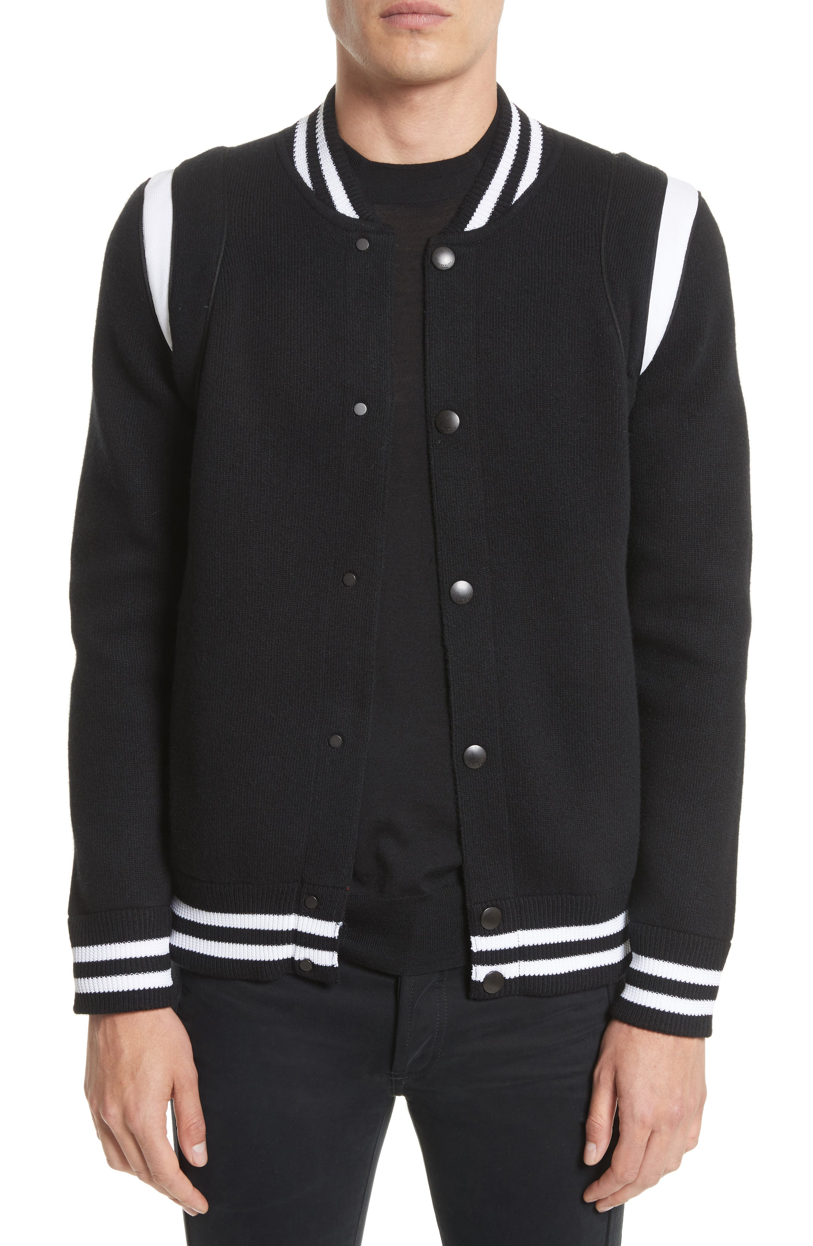Givenchy Logo Back Knit Bomber Jacket