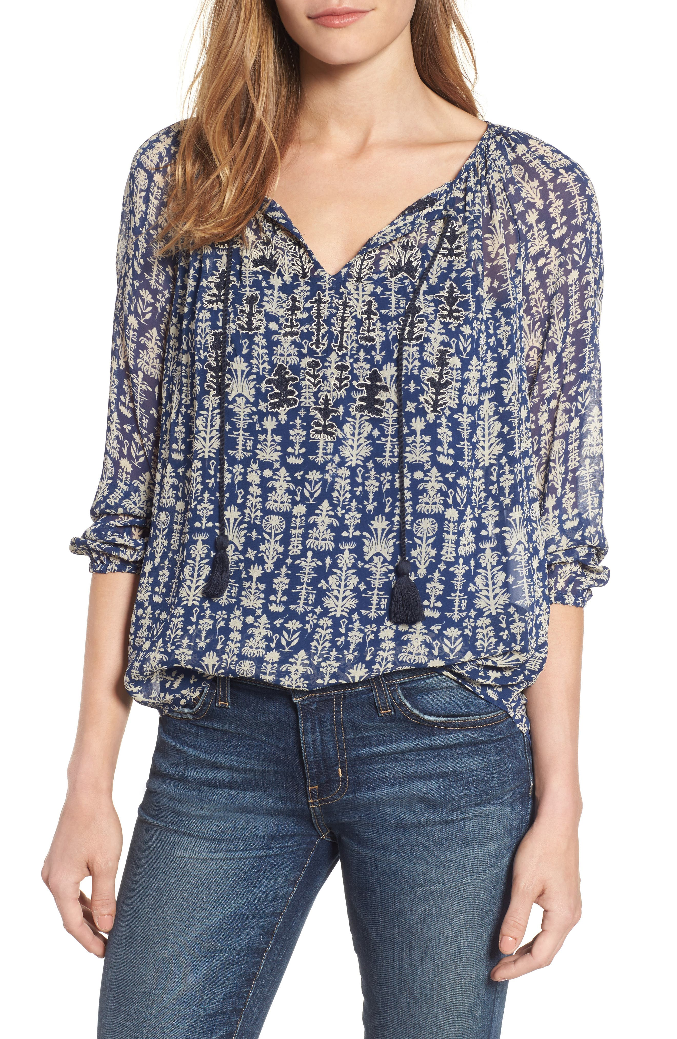 Lucky Brand Embroidered Tie Neck Peasant Top