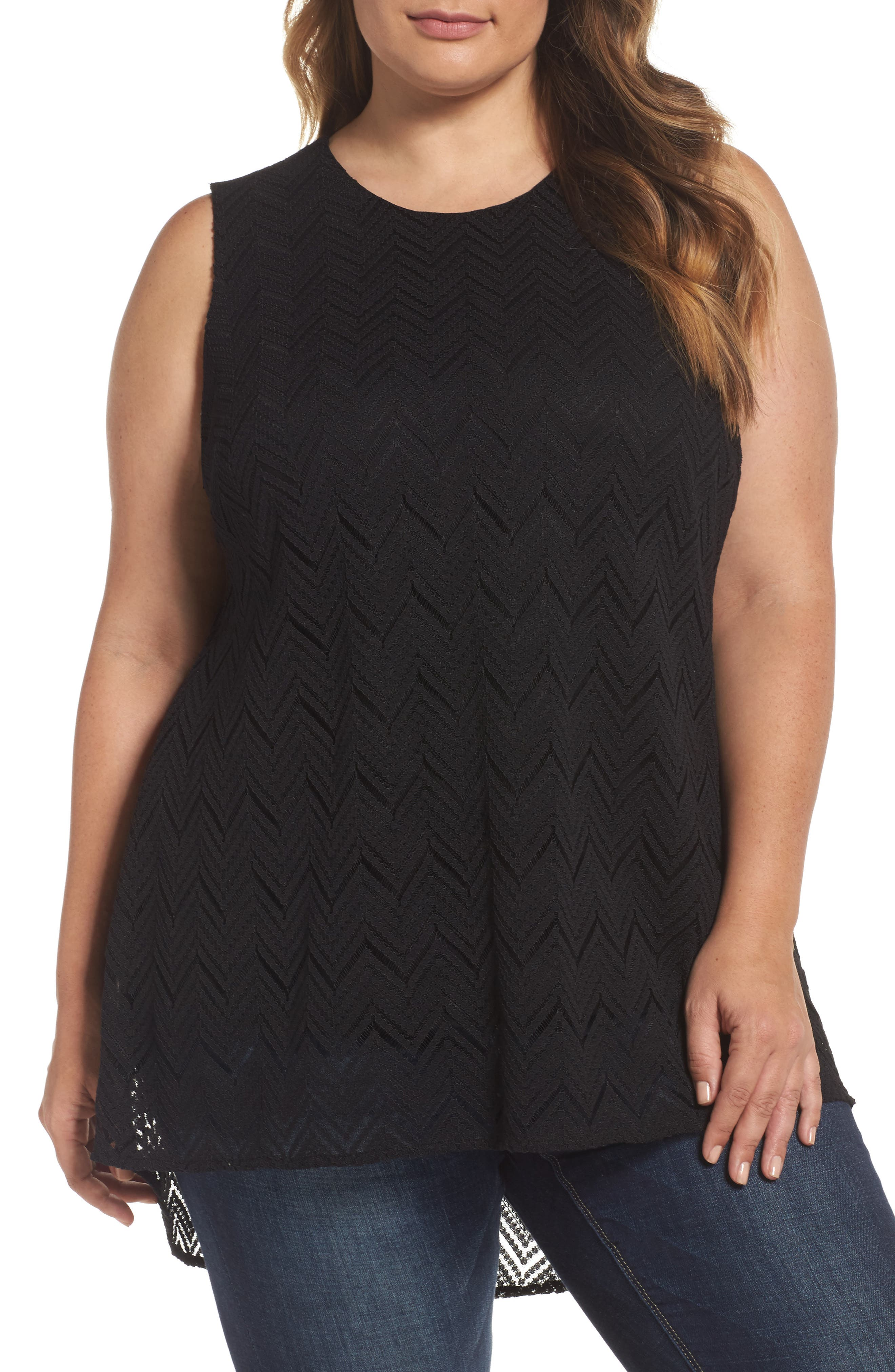 Vince Camuto Herringbone Lace High/Low Top (Plus Size)