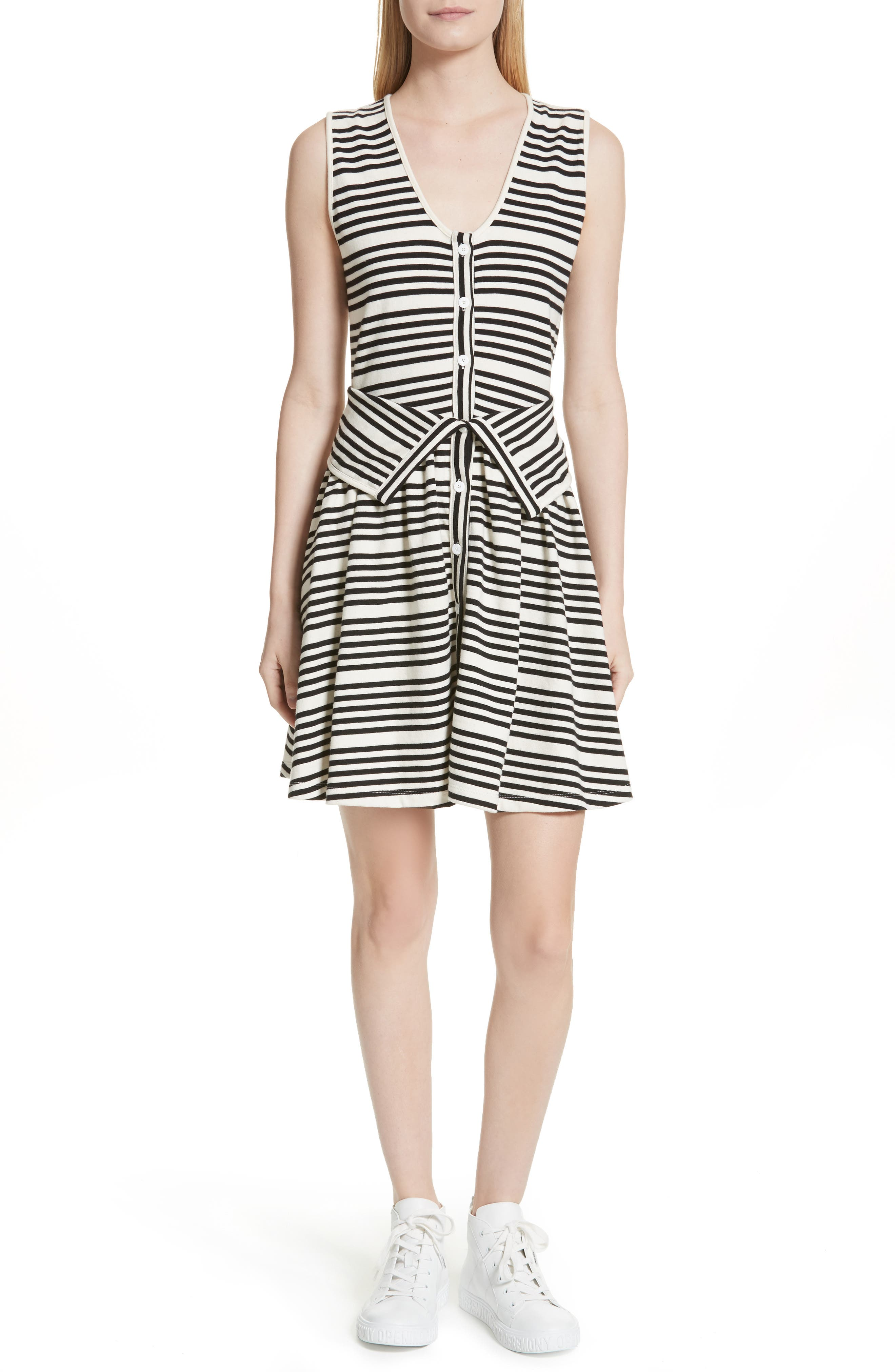 Alternate Image 1 Selected - Opening Ceremony Stripe Button Front Dress