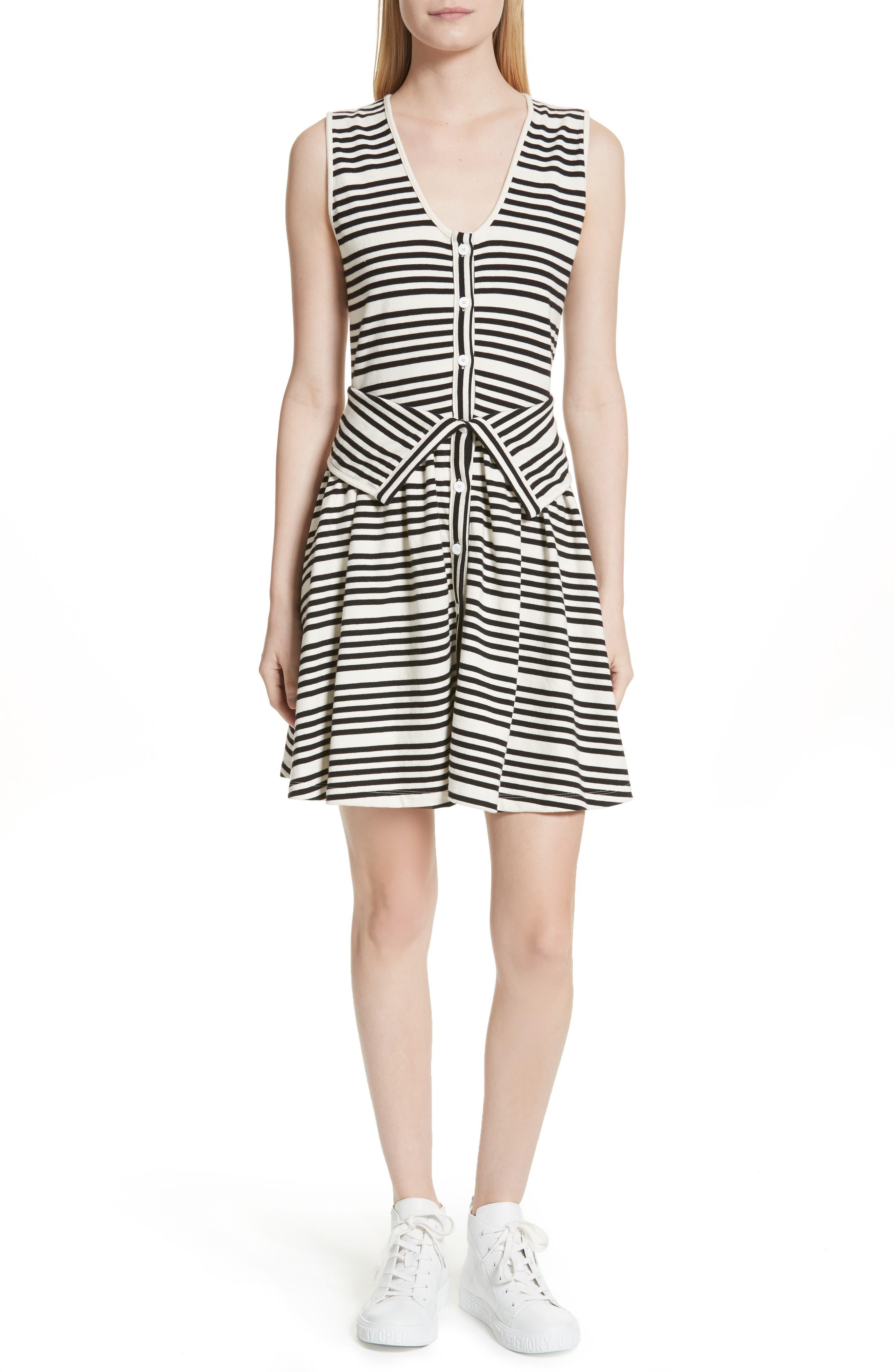Stripe Button Front Dress,                         Main,                         color, White Multi