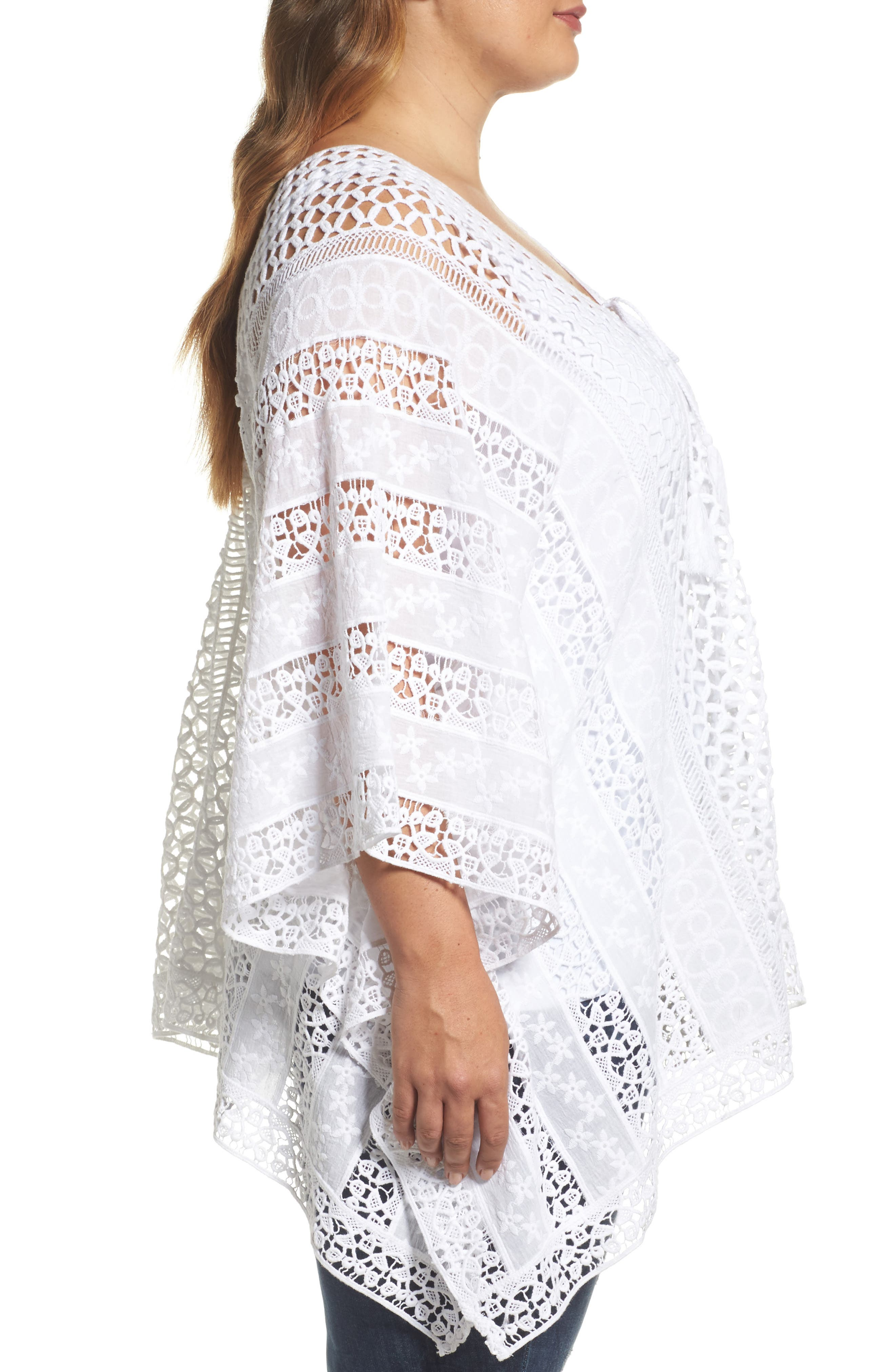 Jace Embroidered Cotton Poncho,                             Alternate thumbnail 3, color,                             White