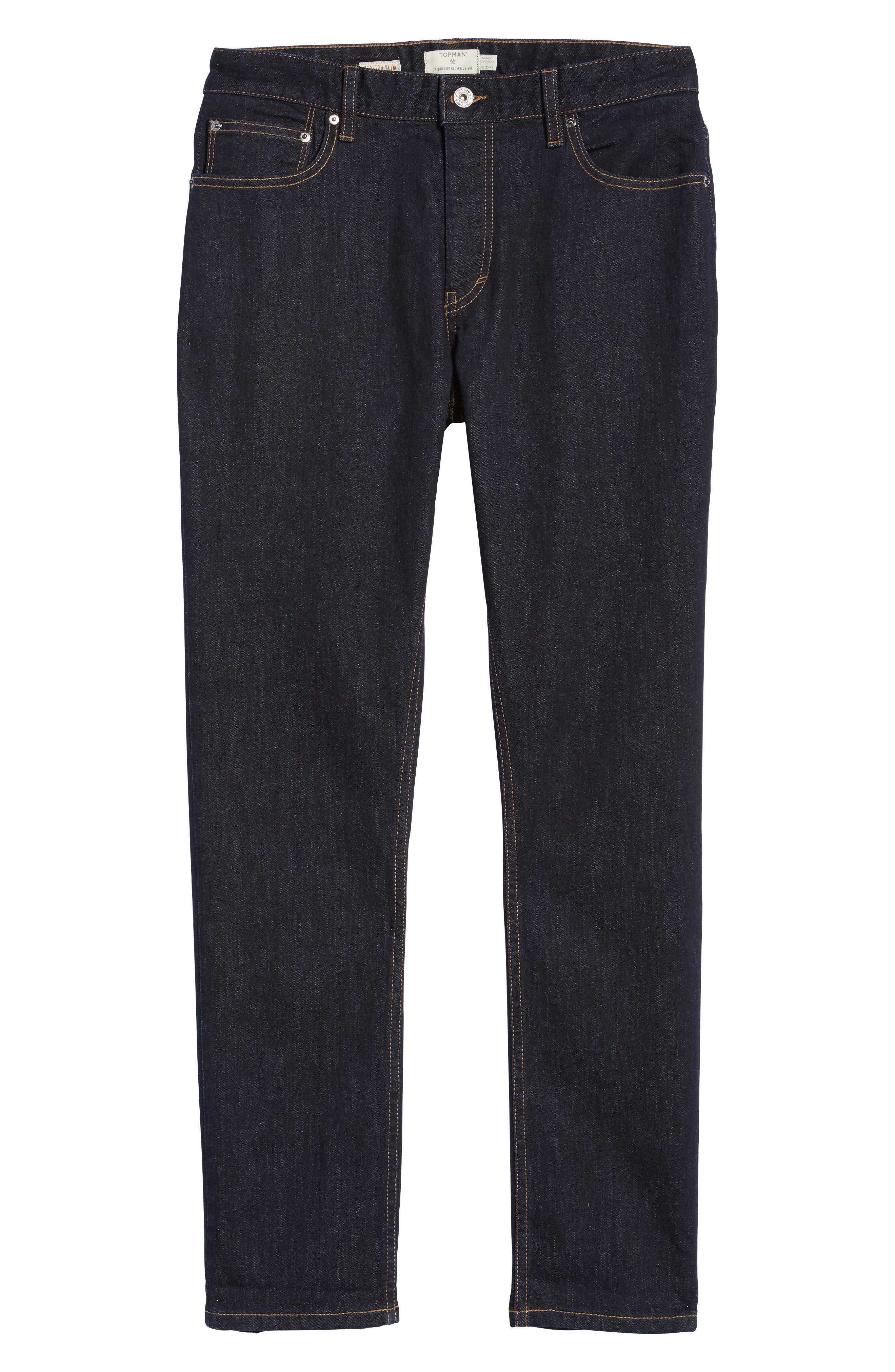 Alternate Image 8  - Topman Stretch Slim Fit Raw Denim Jeans