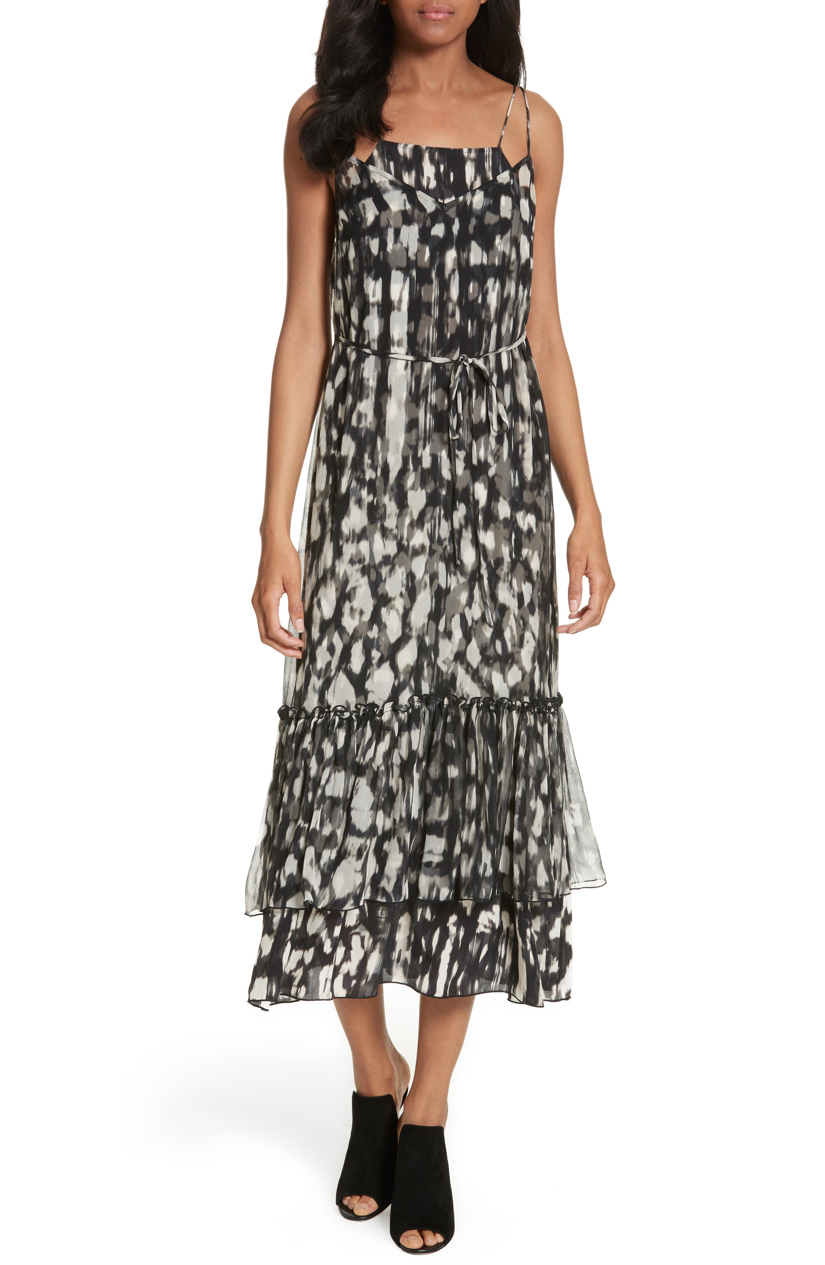 Double Layer Silk Slipdress,                         Main,                         color, Bamboo Crosshatch