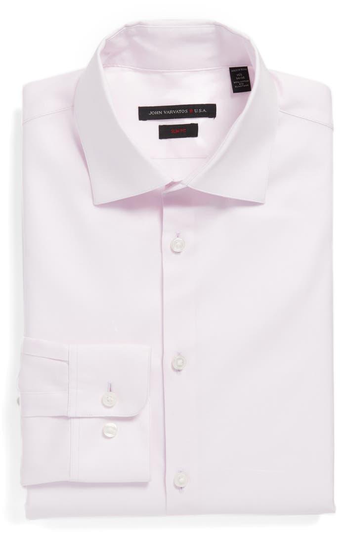 John varvatos star usa slim fit solid stretch dress shirt for How to stretch a dress shirt