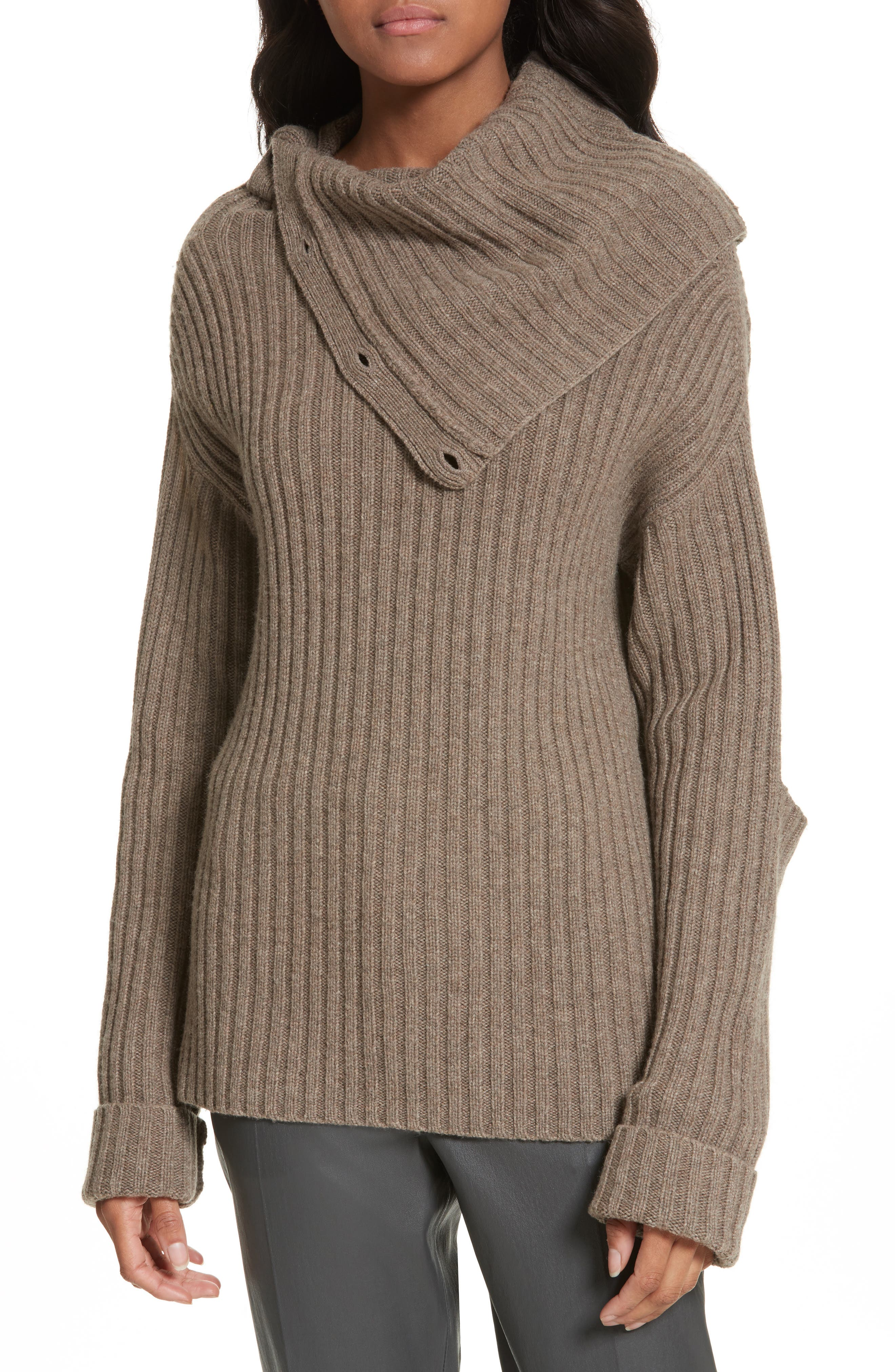 High-Neck Military Sweater,                         Main,                         color, Taupe