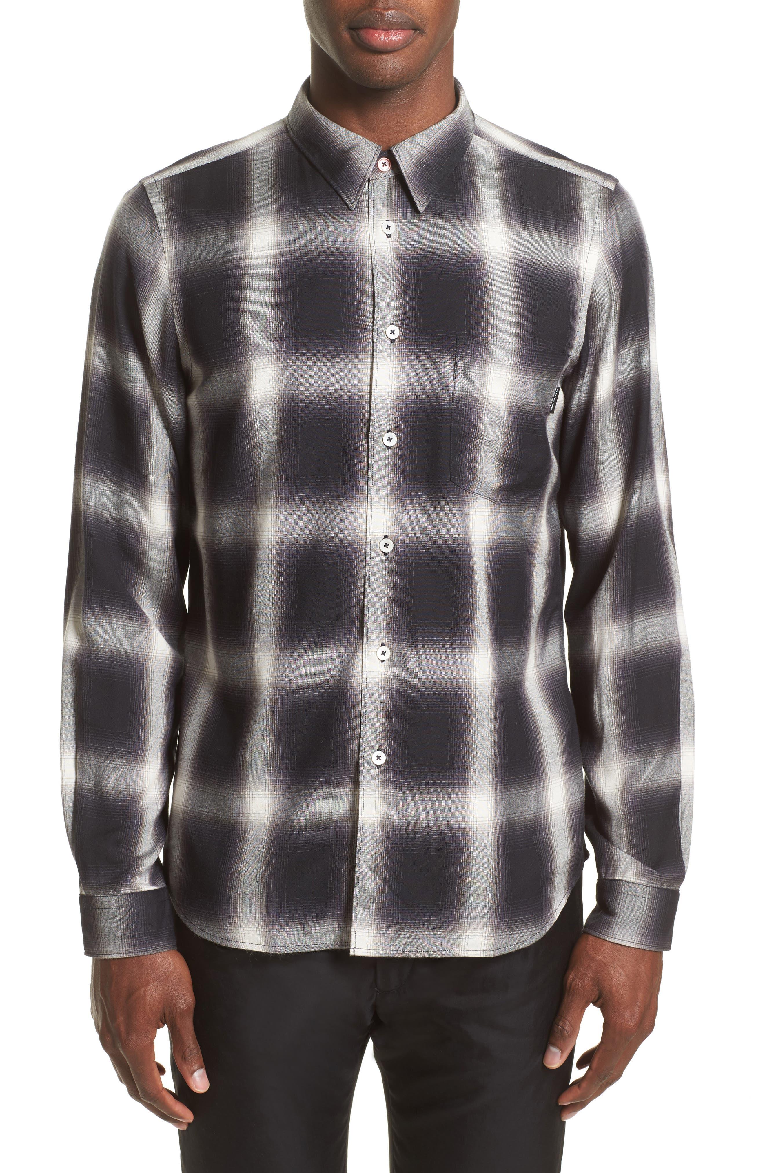 Ombré Plaid Sport Shirt,                         Main,                         color, Black