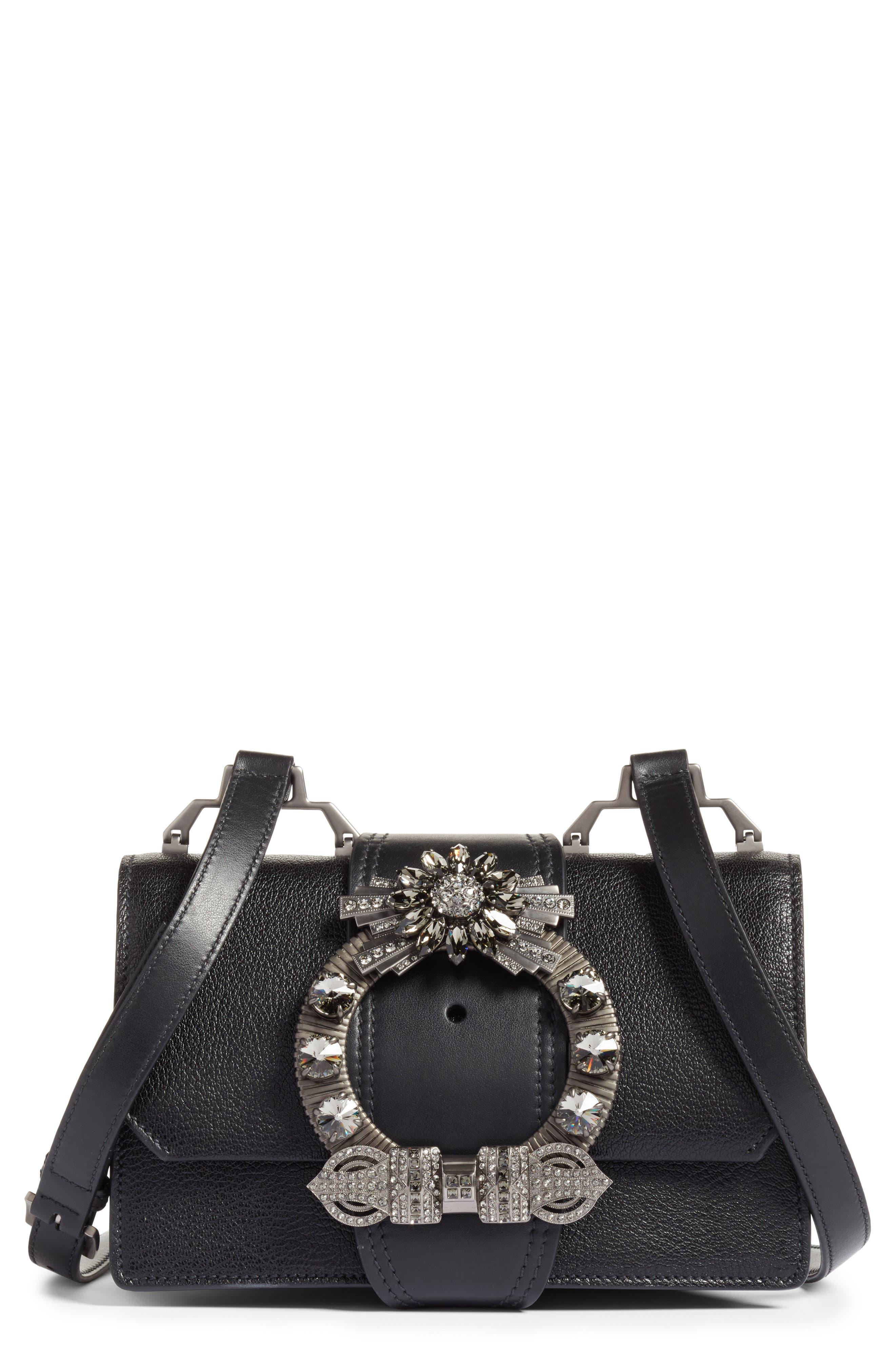 Madras Crystal Embellished Leather Shoulder Bag,                             Main thumbnail 1, color,                             Black
