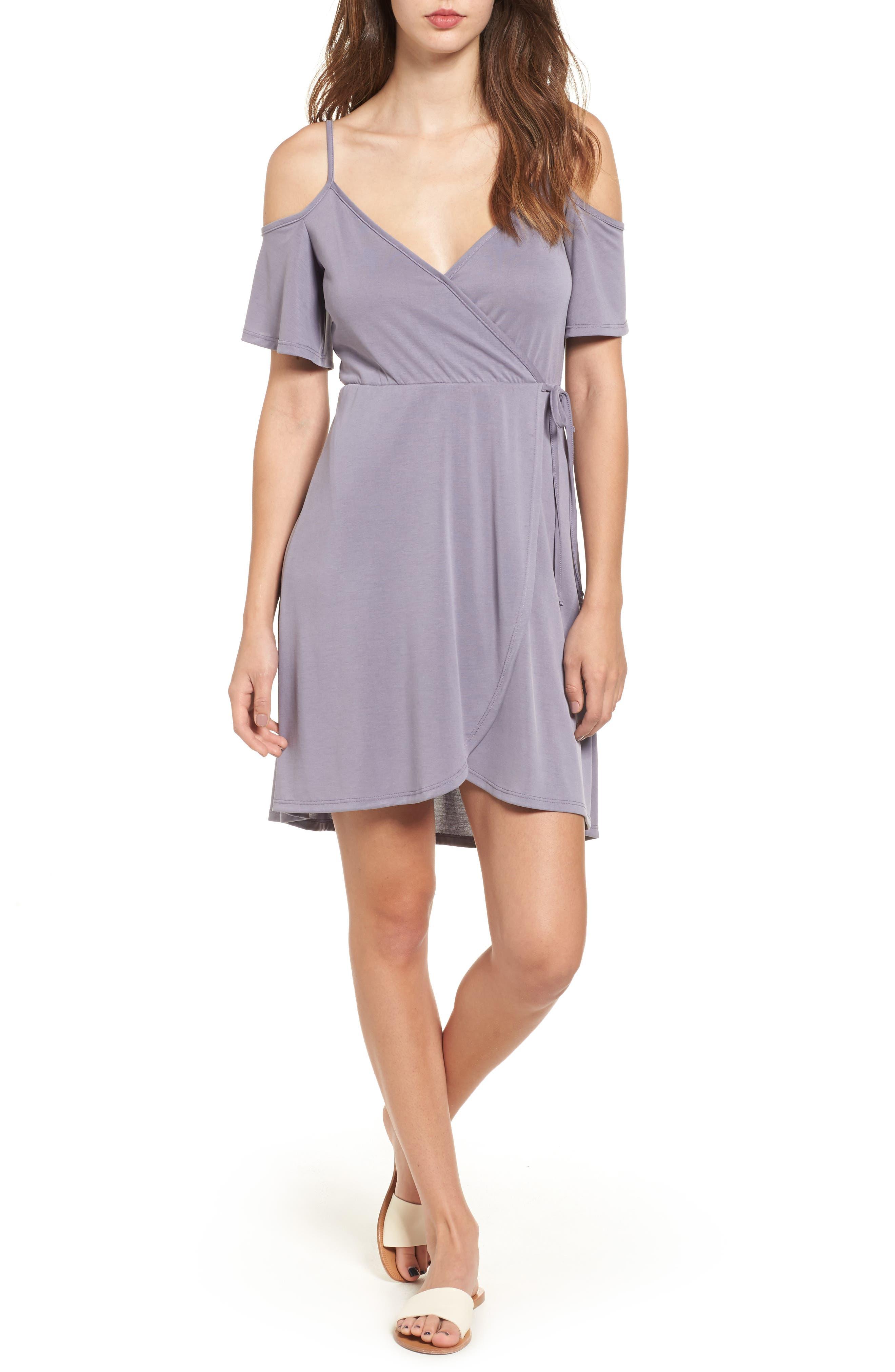 Socialite Faux Wrap Cold Shoulder Dress