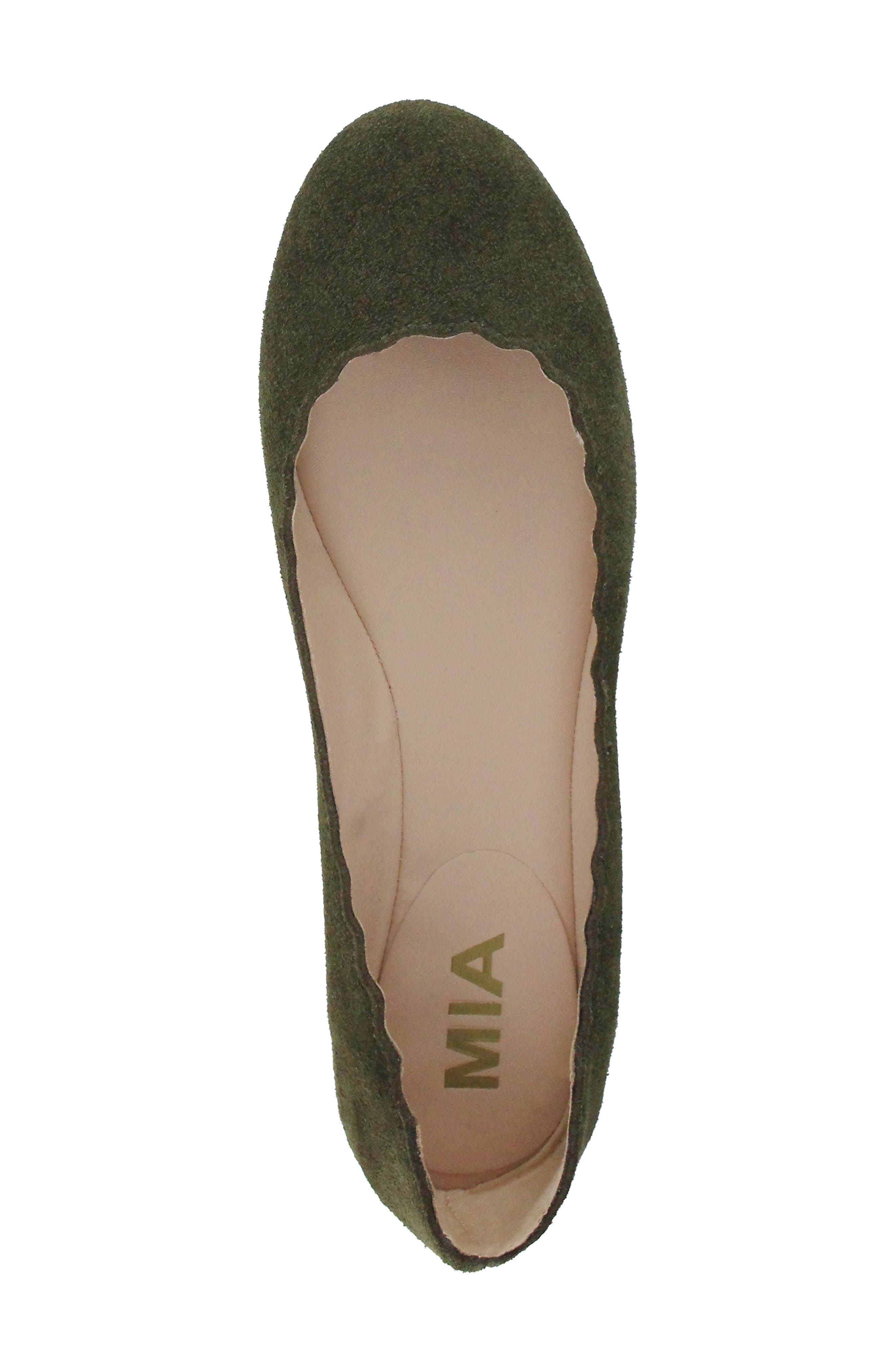 Gianna Scalloped Flat,                             Alternate thumbnail 5, color,                             Olive