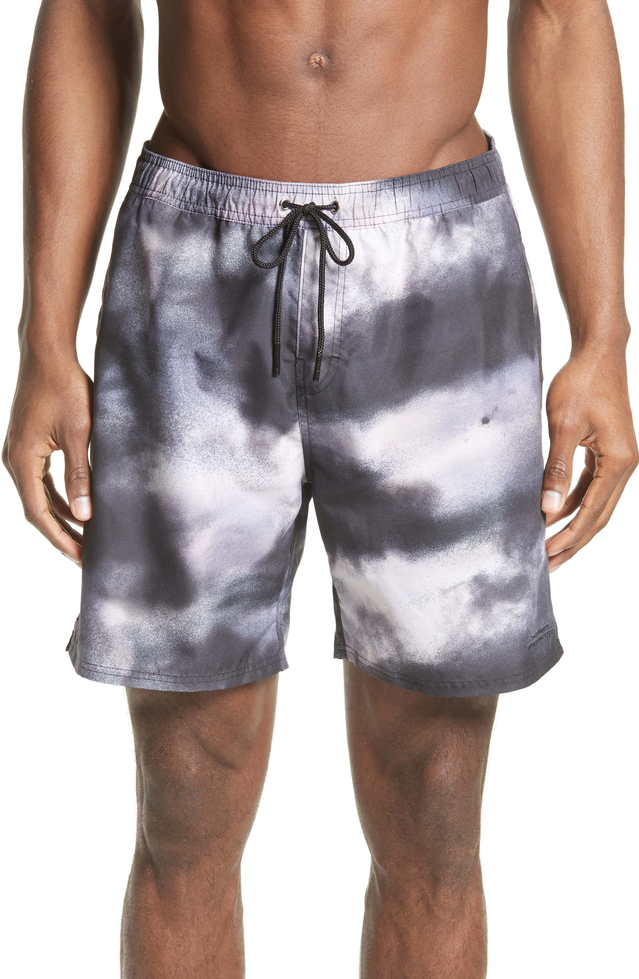 Saturdays NYC Timothy Cloud Print Swim Trunks