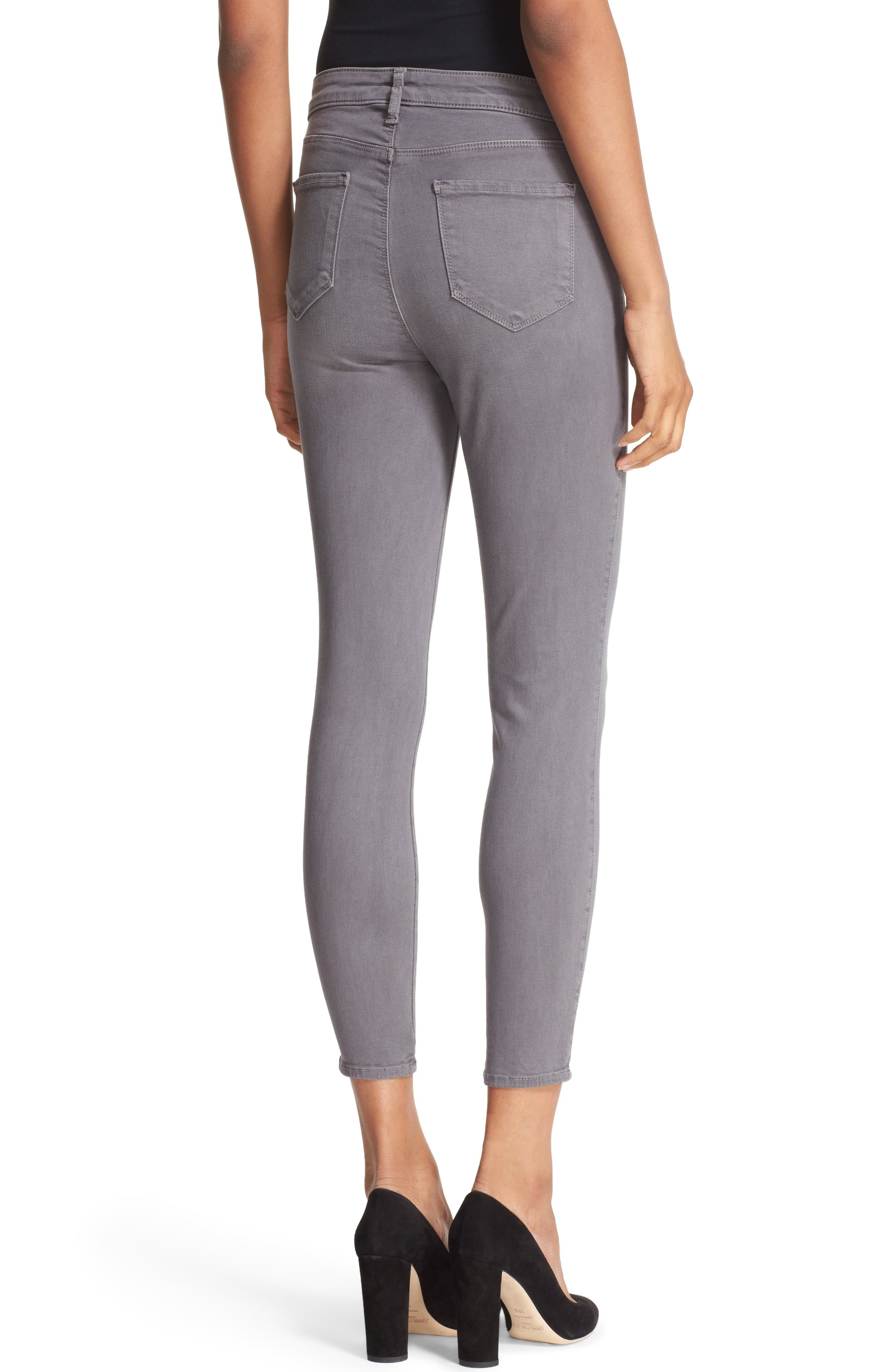High Waist Skinny Ankle Jeans,                             Alternate thumbnail 2, color,                             Gris
