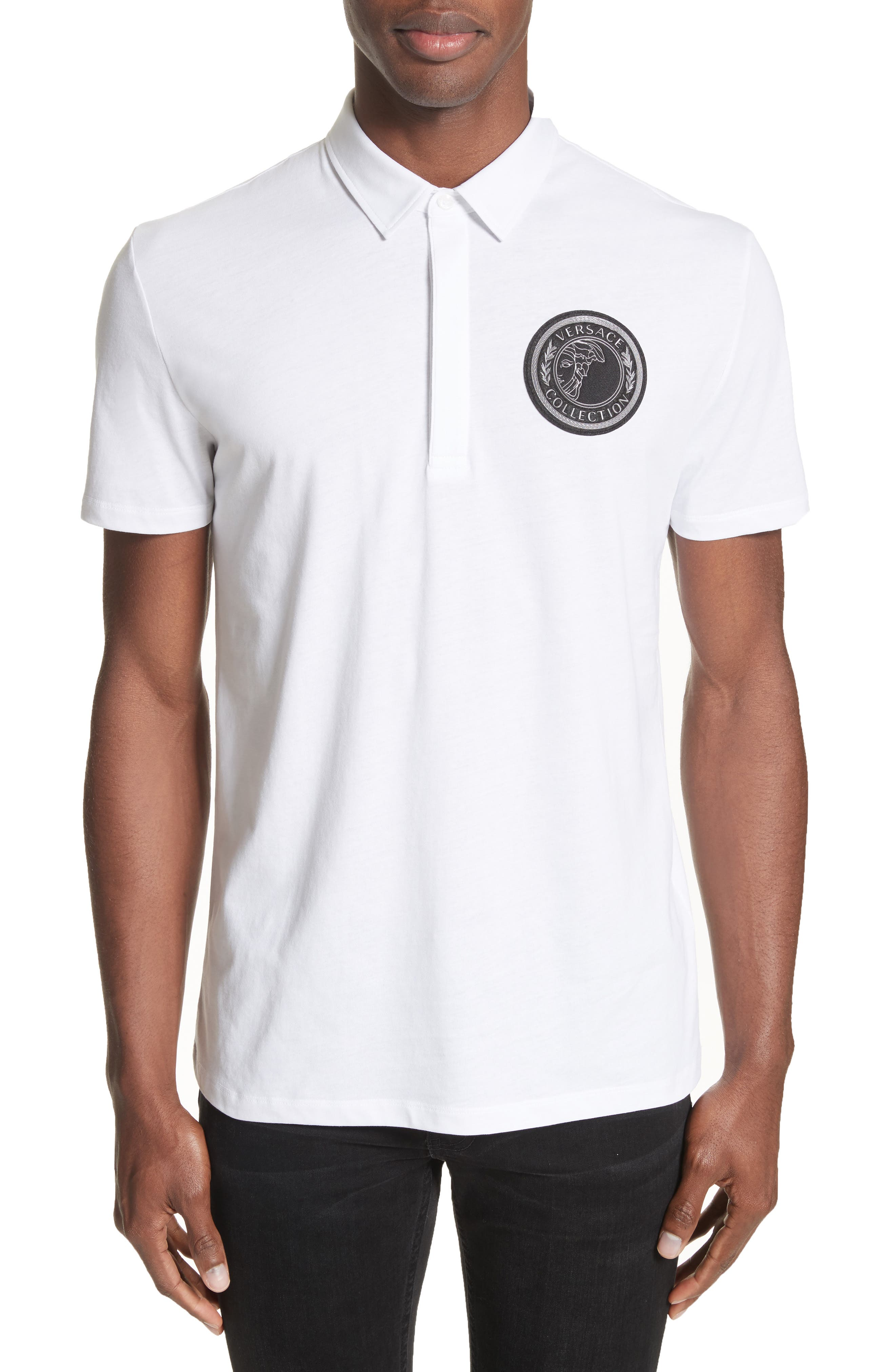 Versace Collection Crest Patch Jersey Polo