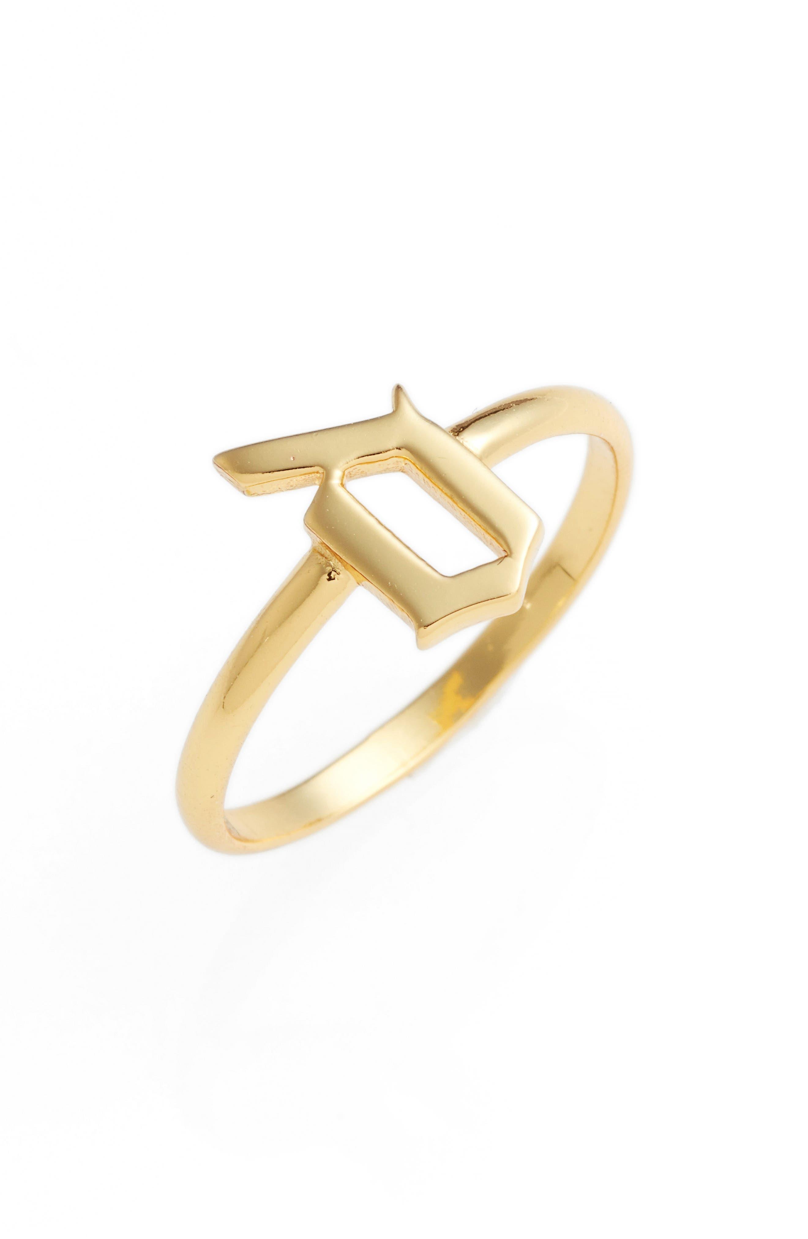 ARGENTO VIVO Gothic Initial Ring