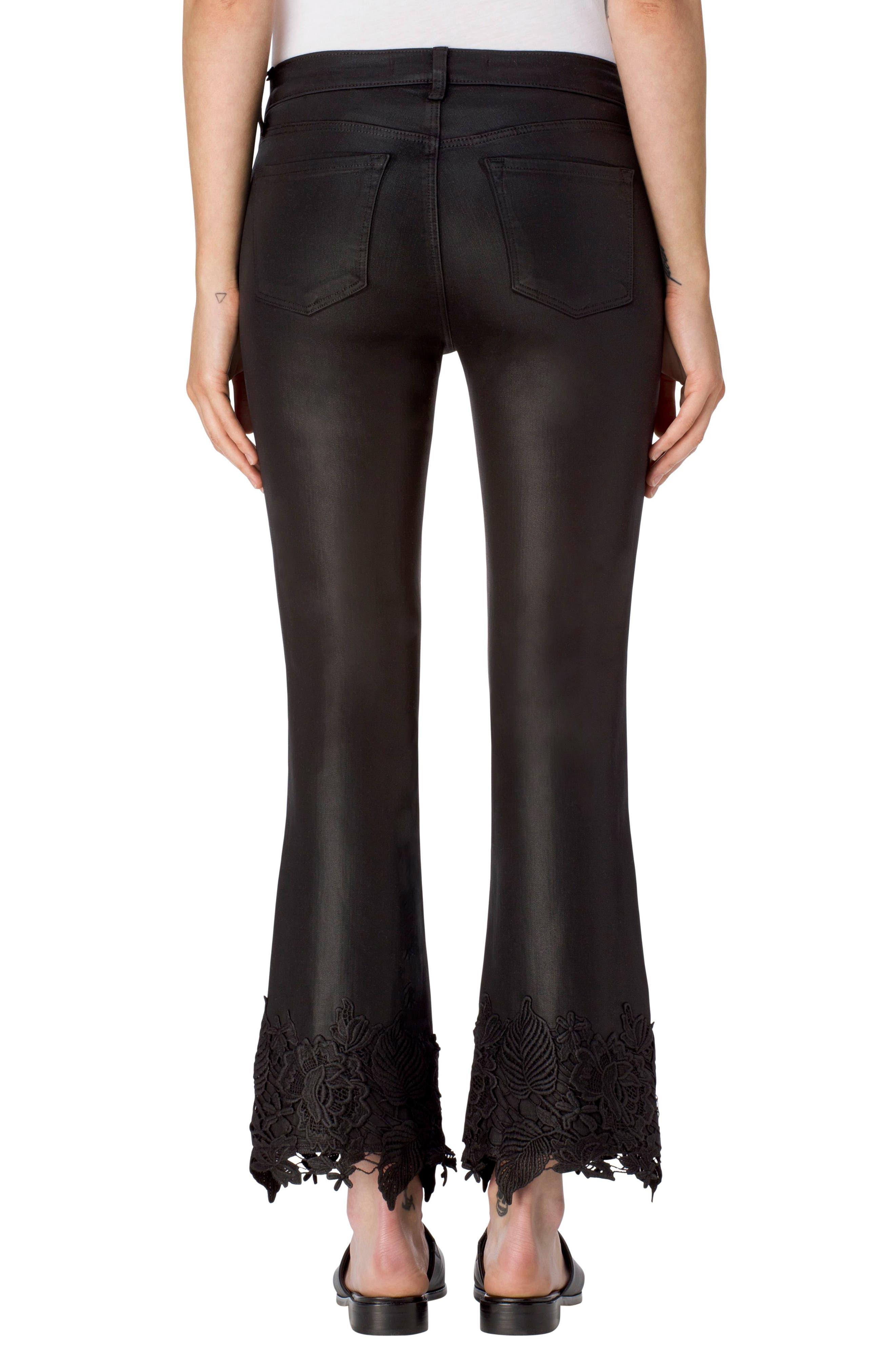 Alternate Image 2  - J Brand Selena Crop Bootcut Jeans (Coated Black Lace)