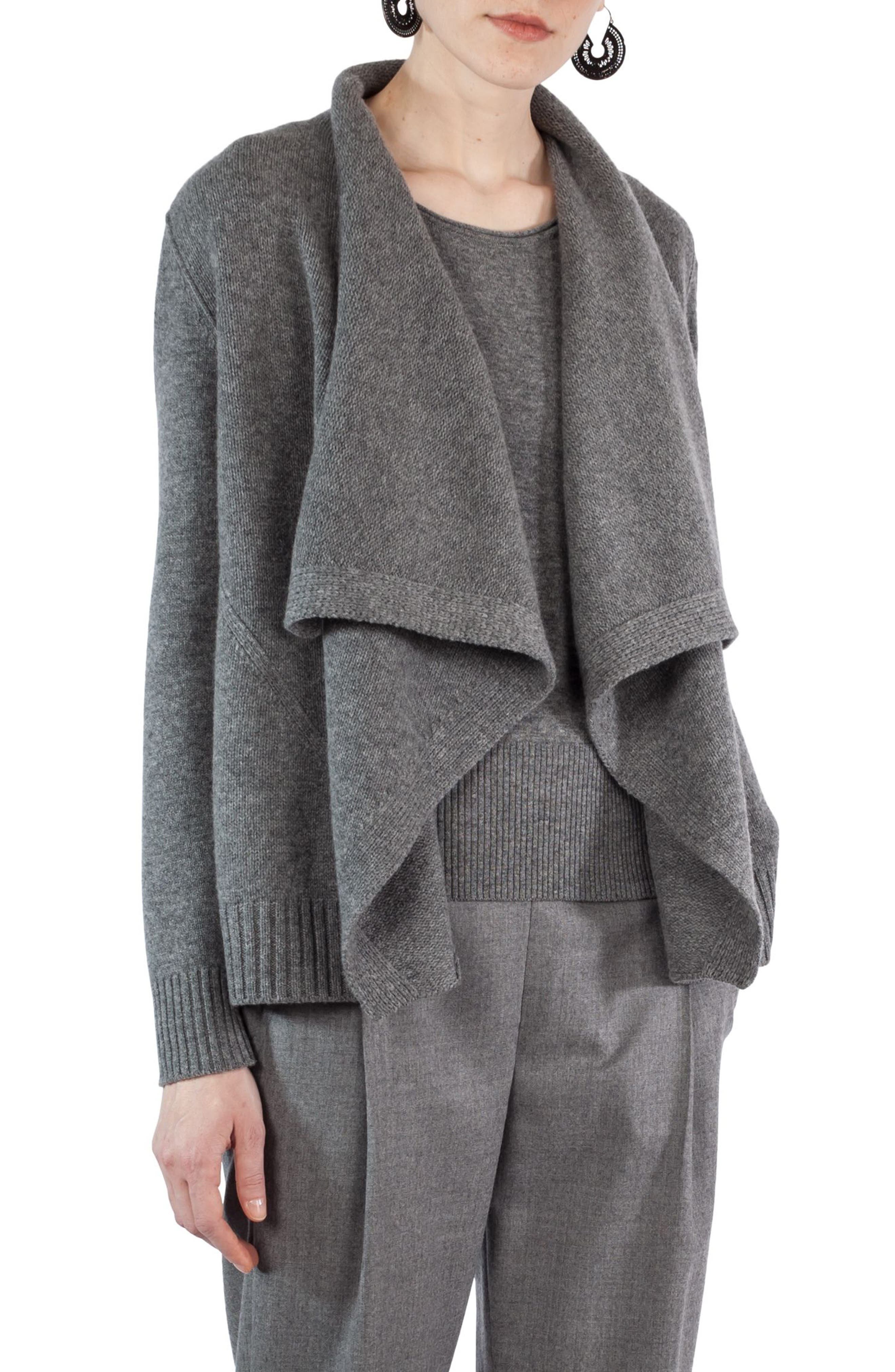 Wool & Cashmere Cardigan,                             Main thumbnail 1, color,                             Stone