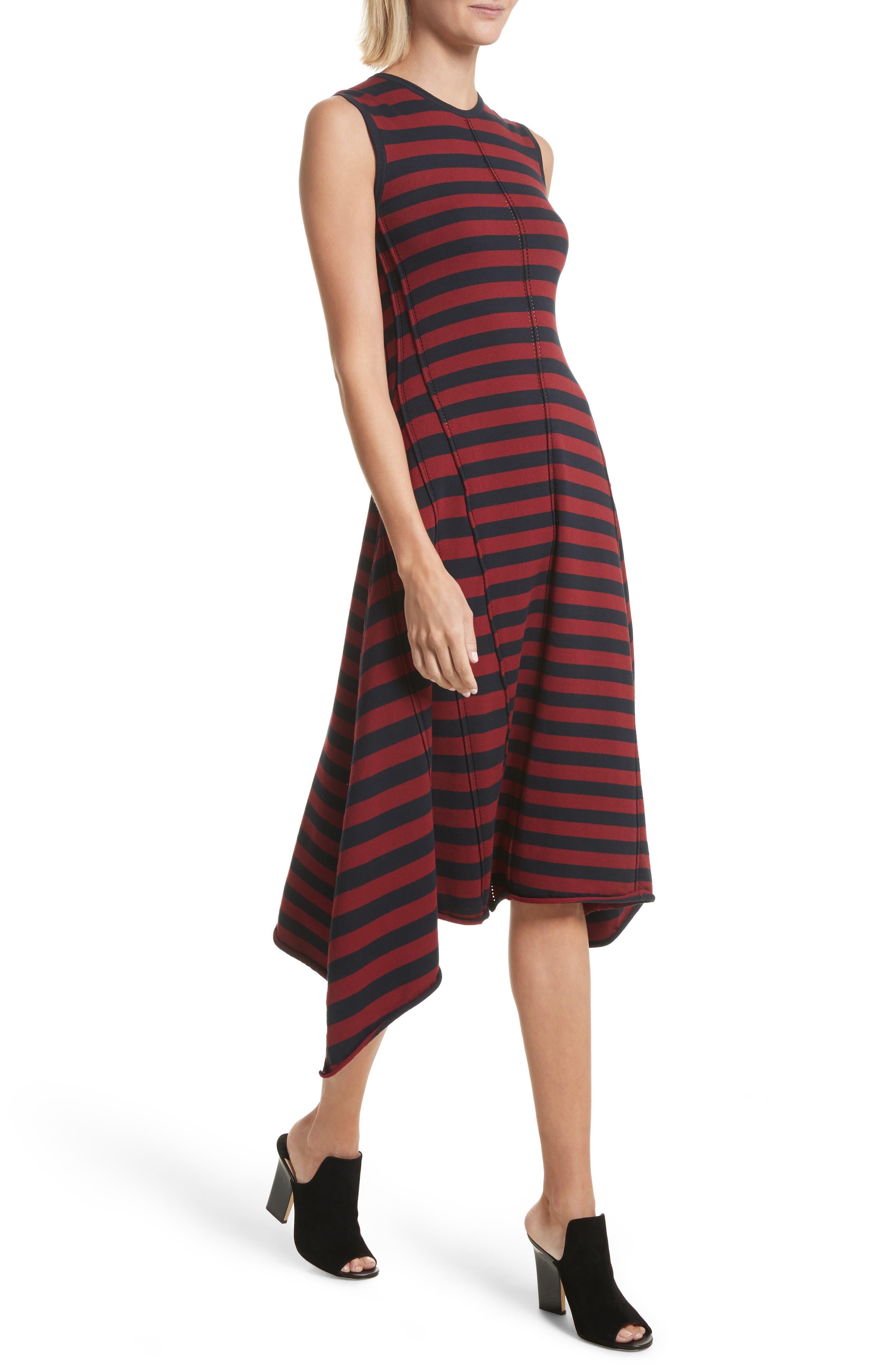 Stripe Handkerchief Hem Dress,                             Alternate thumbnail 4, color,                             Midnight/ Rosewood