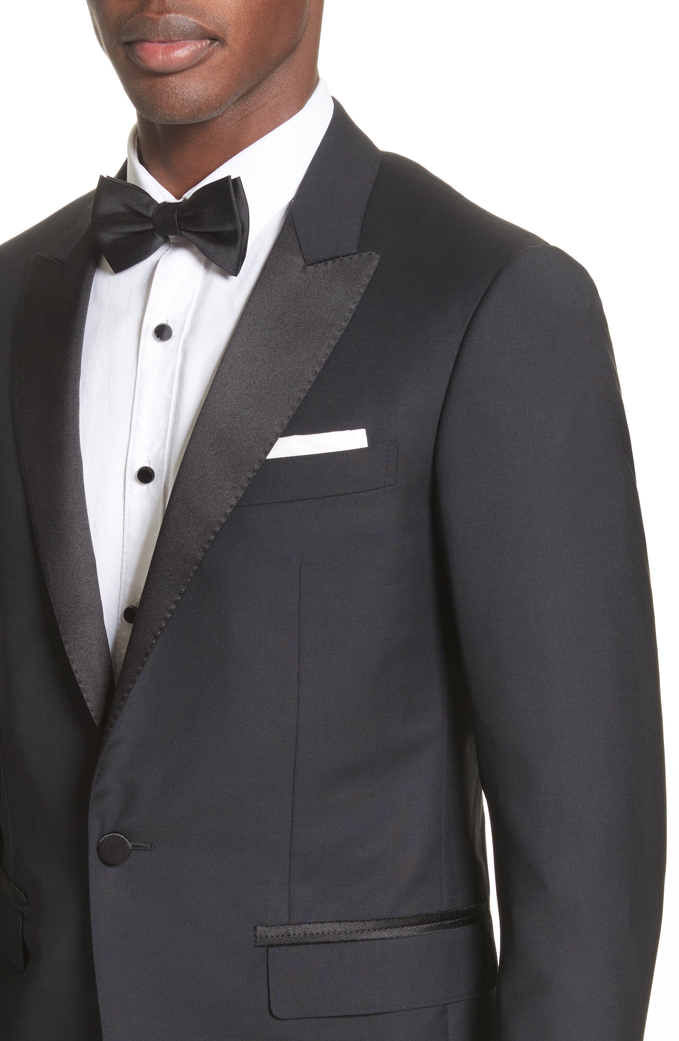 Peak Lapel Wool Blend Tuxedo,                             Alternate thumbnail 4, color,                             Navy