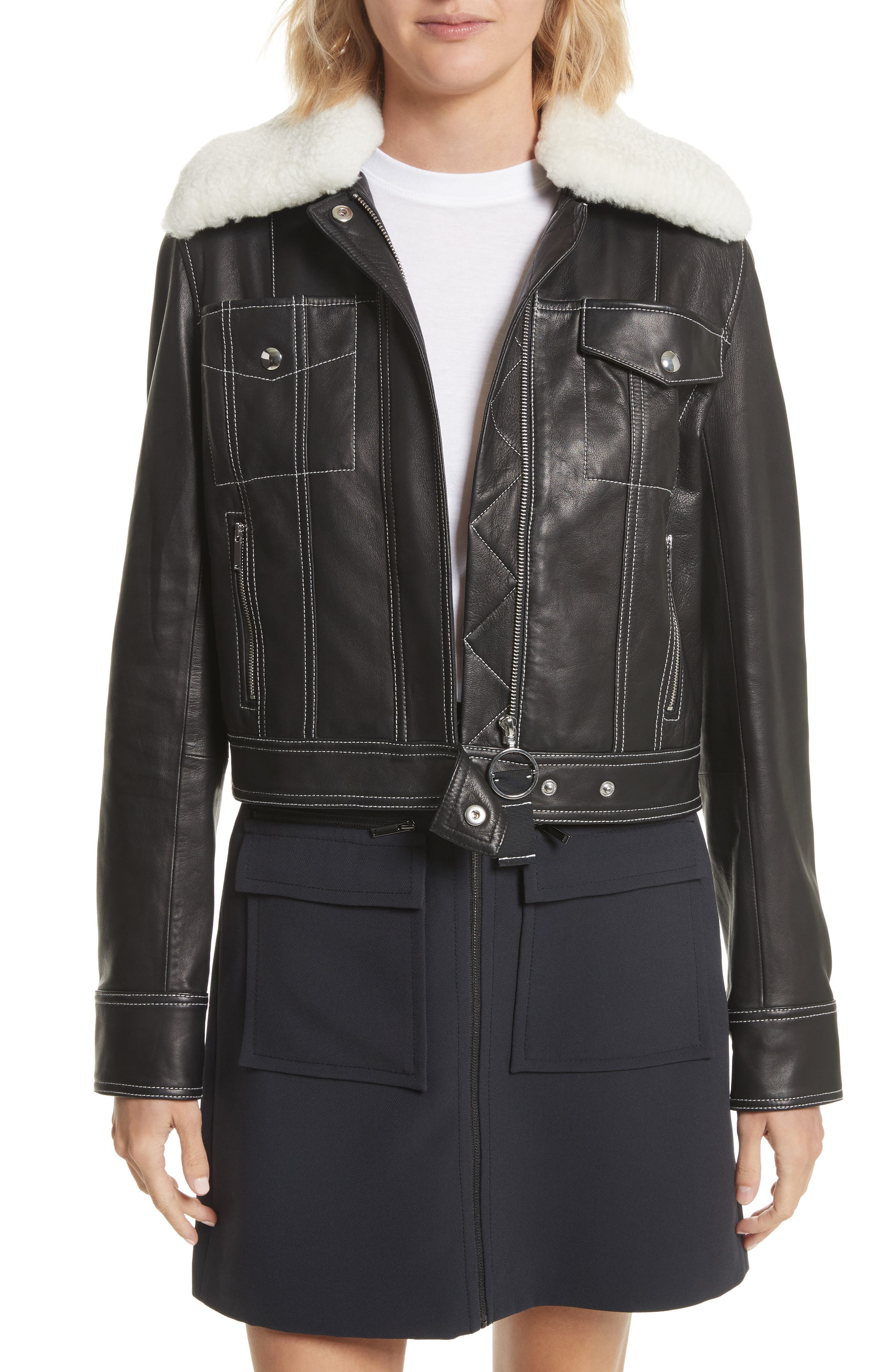Shrunken Leather Jacket with Removable Genuine Shearling Collar,                         Main,                         color, Black/ Star White